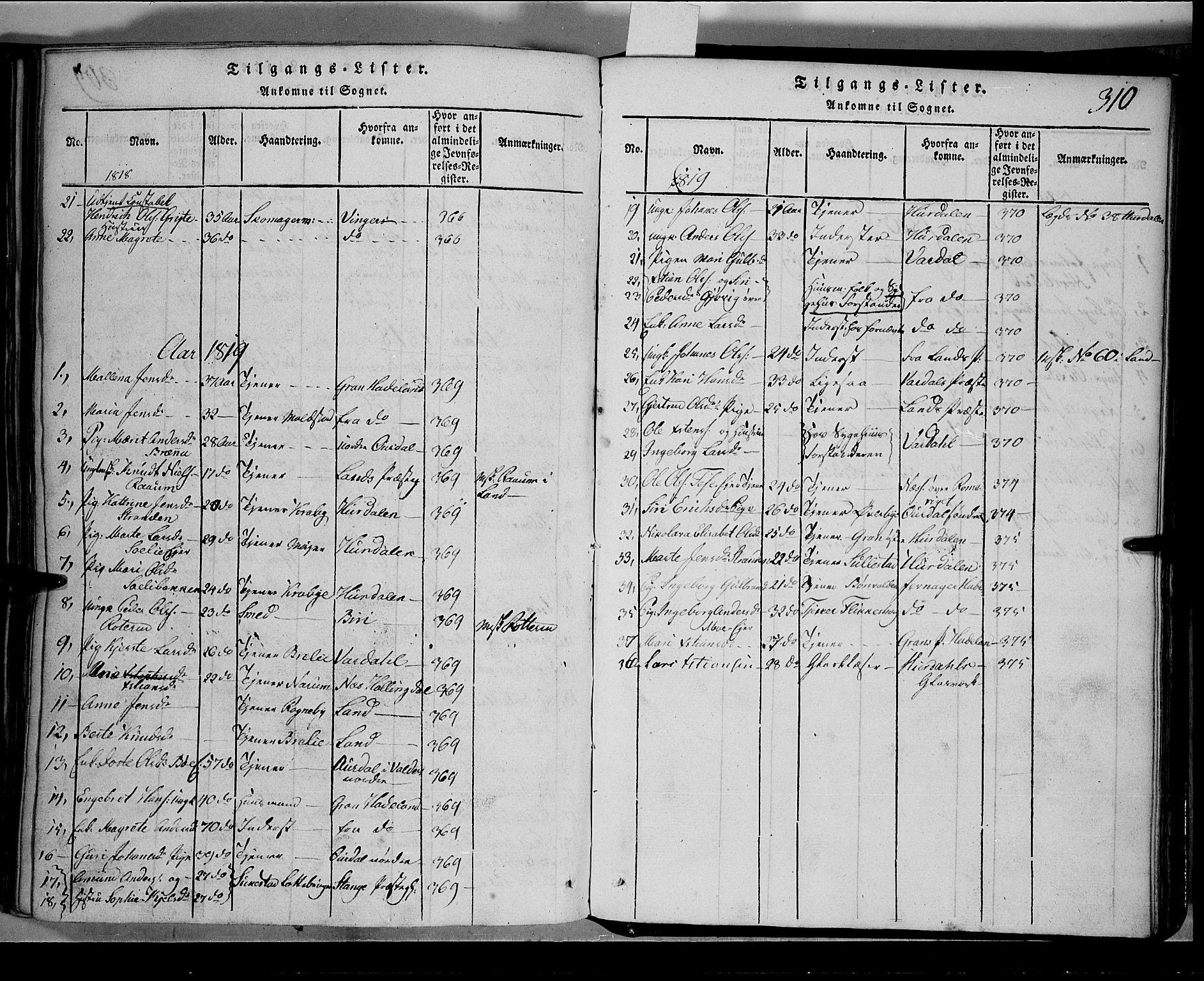 SAH, Toten prestekontor, Klokkerbok nr. 1, 1814-1820, s. 310