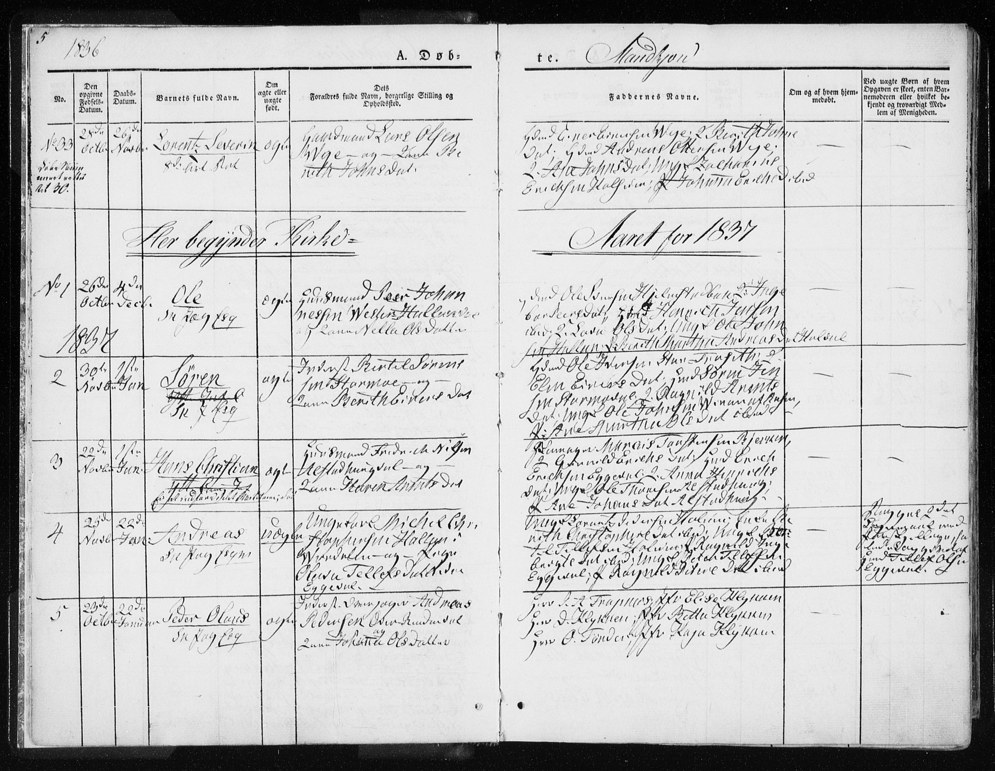 SAT, Ministerialprotokoller, klokkerbøker og fødselsregistre - Nord-Trøndelag, 717/L0154: Ministerialbok nr. 717A06 /1, 1836-1849, s. 5