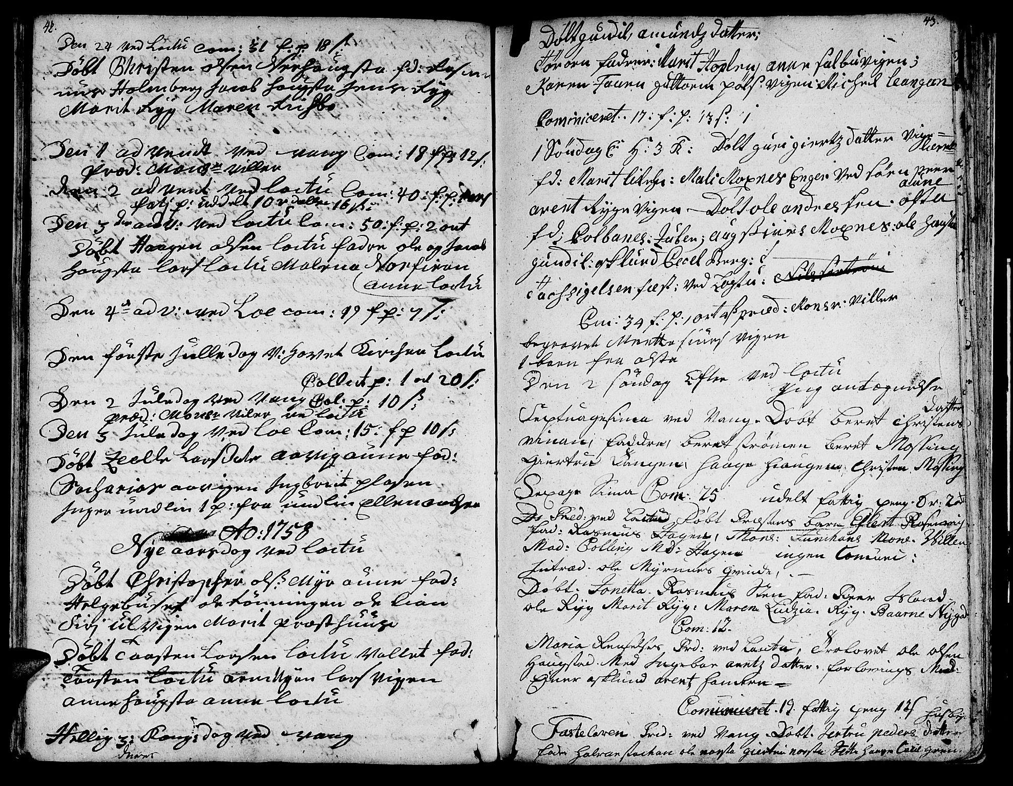 SAT, Ministerialprotokoller, klokkerbøker og fødselsregistre - Nord-Trøndelag, 713/L0109: Ministerialbok nr. 713A01, 1750-1778, s. 42-43