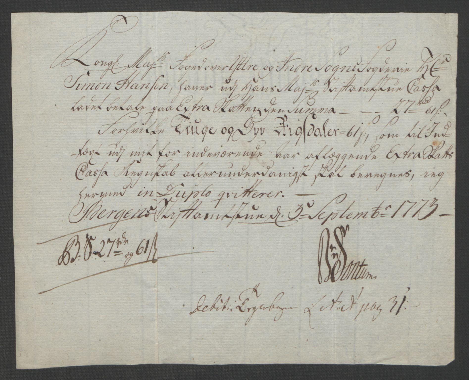 RA, Rentekammeret inntil 1814, Realistisk ordnet avdeling, Ol/L0018: [Gg 10]: Ekstraskatten, 23.09.1762. Sogn, 1762-1772, s. 438