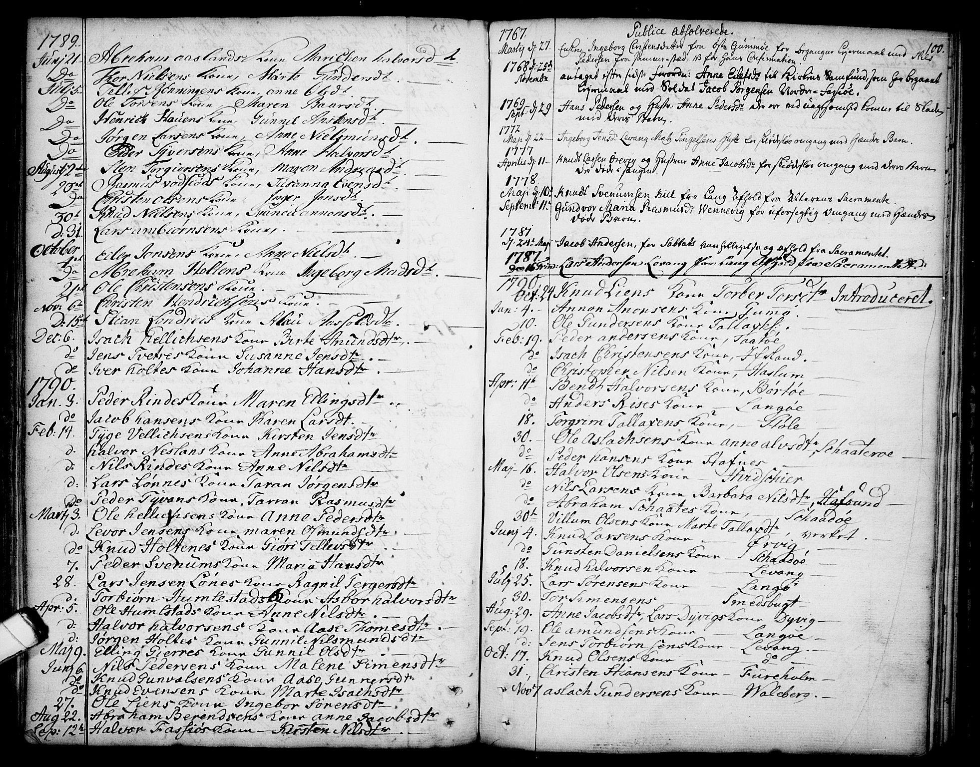 SAKO, Sannidal kirkebøker, F/Fa/L0002: Ministerialbok nr. 2, 1767-1802, s. 100