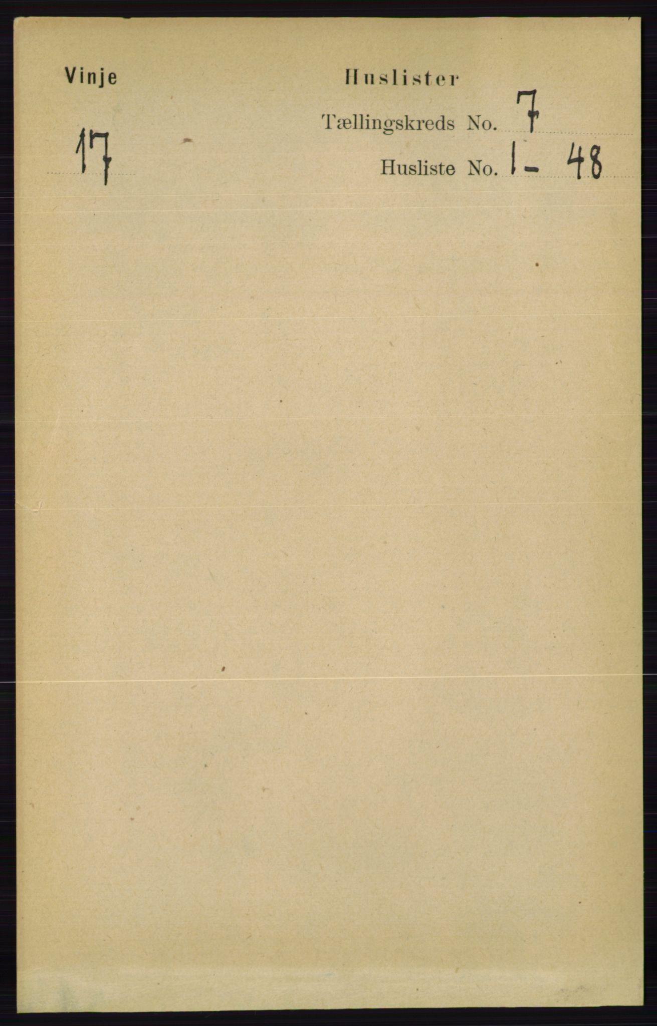 RA, Folketelling 1891 for 0834 Vinje herred, 1891, s. 1749