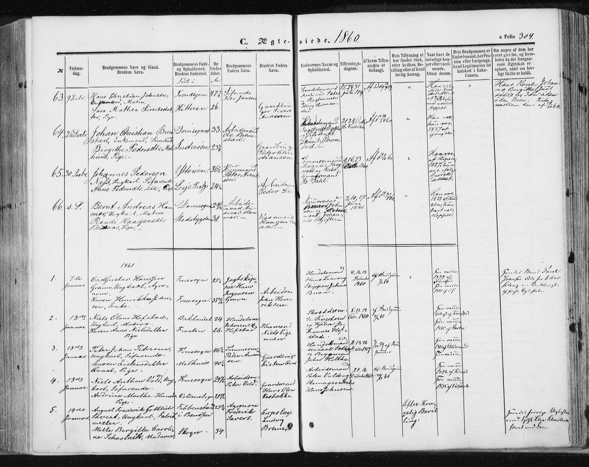 SAT, Ministerialprotokoller, klokkerbøker og fødselsregistre - Sør-Trøndelag, 602/L0115: Ministerialbok nr. 602A13, 1860-1872, s. 304