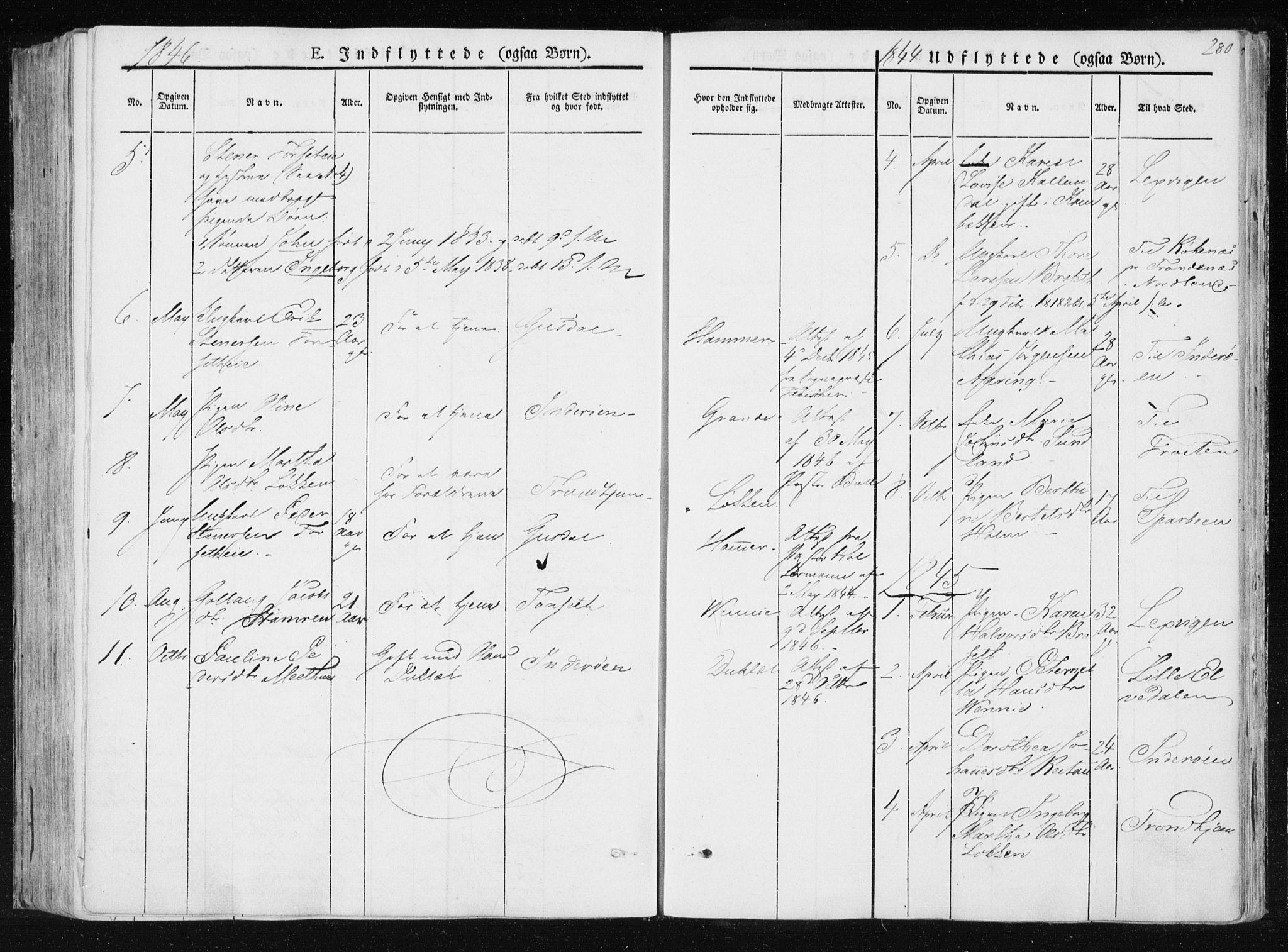 SAT, Ministerialprotokoller, klokkerbøker og fødselsregistre - Nord-Trøndelag, 733/L0323: Ministerialbok nr. 733A02, 1843-1870, s. 280