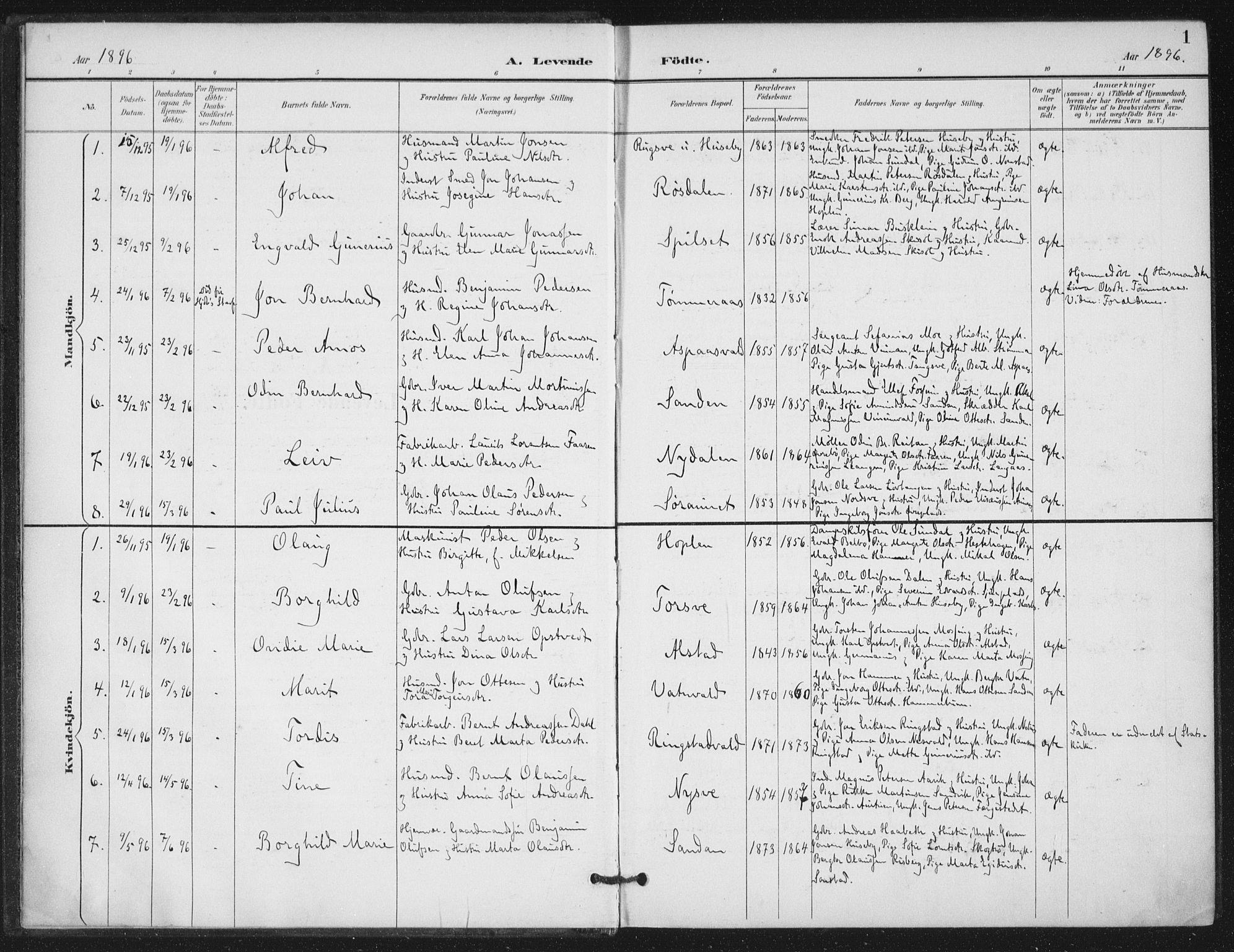 SAT, Ministerialprotokoller, klokkerbøker og fødselsregistre - Nord-Trøndelag, 714/L0131: Ministerialbok nr. 714A02, 1896-1918, s. 1