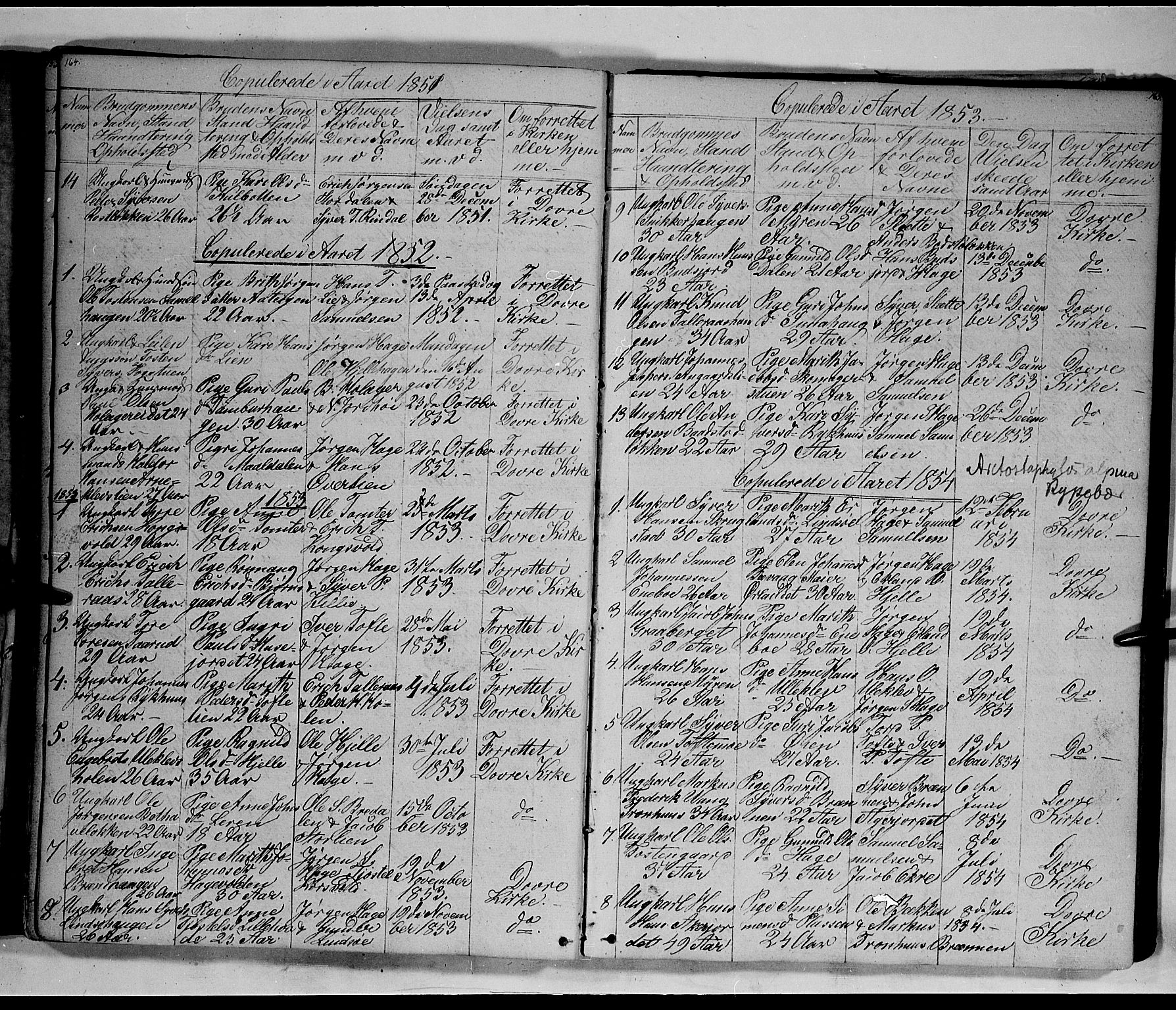 SAH, Lesja prestekontor, Klokkerbok nr. 3, 1842-1862, s. 164-165