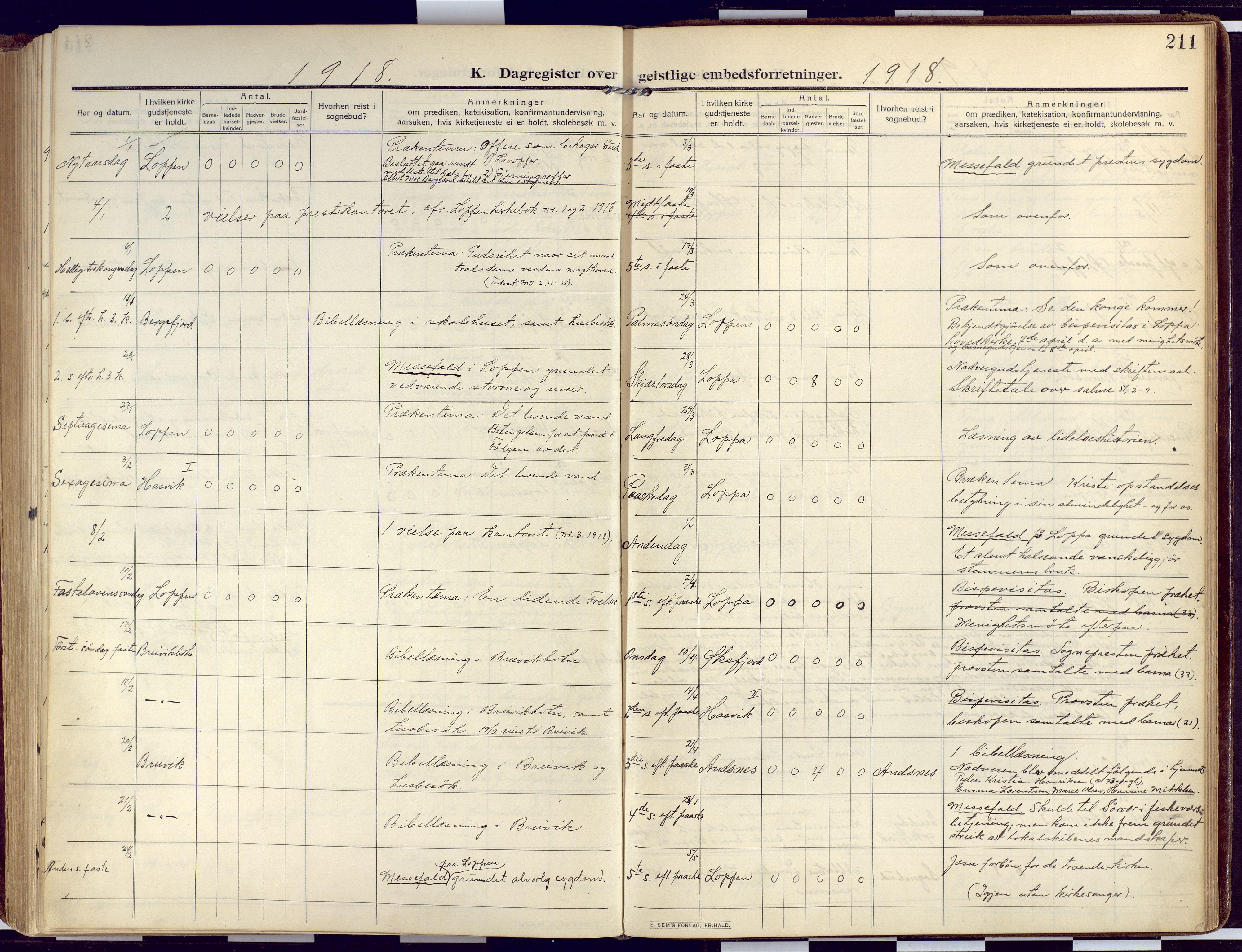 SATØ, Loppa sokneprestkontor, H/Ha/L0011kirke: Ministerialbok nr. 11, 1909-1919, s. 211
