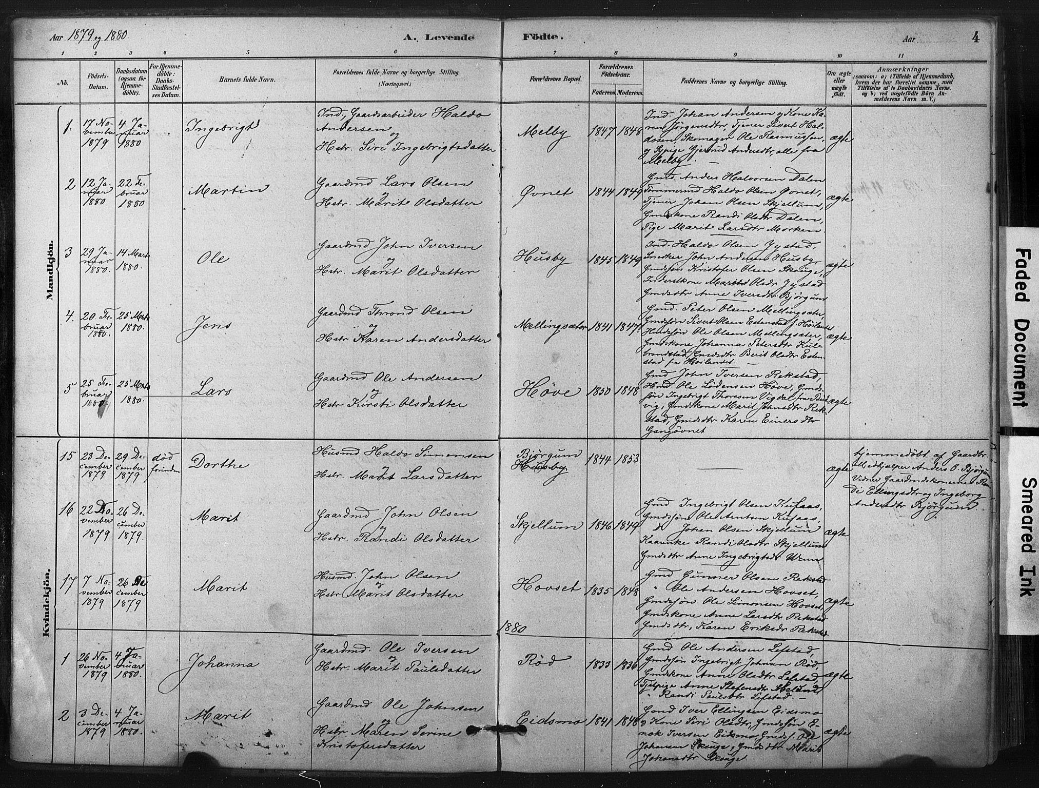 SAT, Ministerialprotokoller, klokkerbøker og fødselsregistre - Sør-Trøndelag, 667/L0795: Ministerialbok nr. 667A03, 1879-1907, s. 4