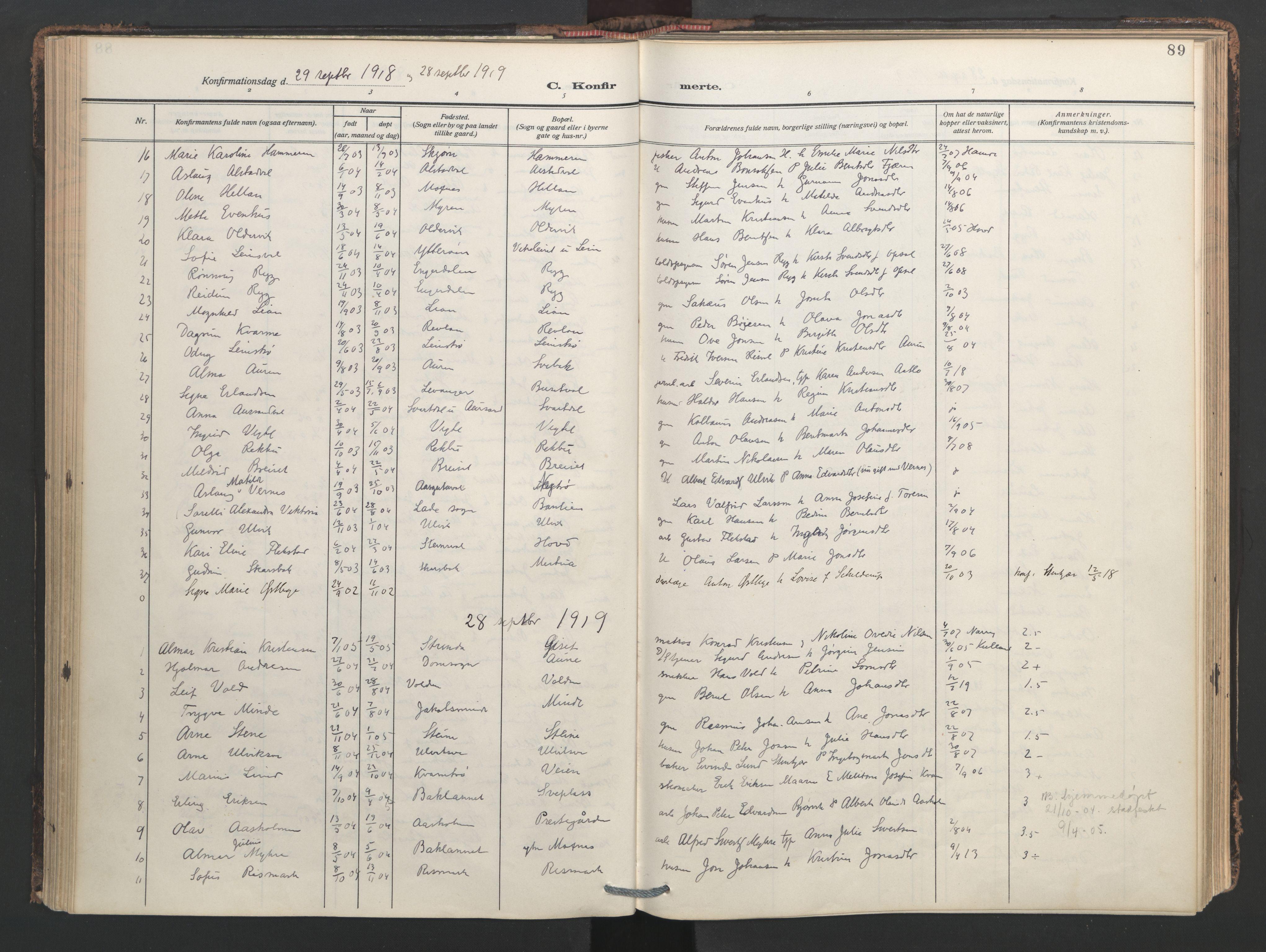SAT, Ministerialprotokoller, klokkerbøker og fødselsregistre - Nord-Trøndelag, 713/L0123: Ministerialbok nr. 713A12, 1911-1925, s. 89