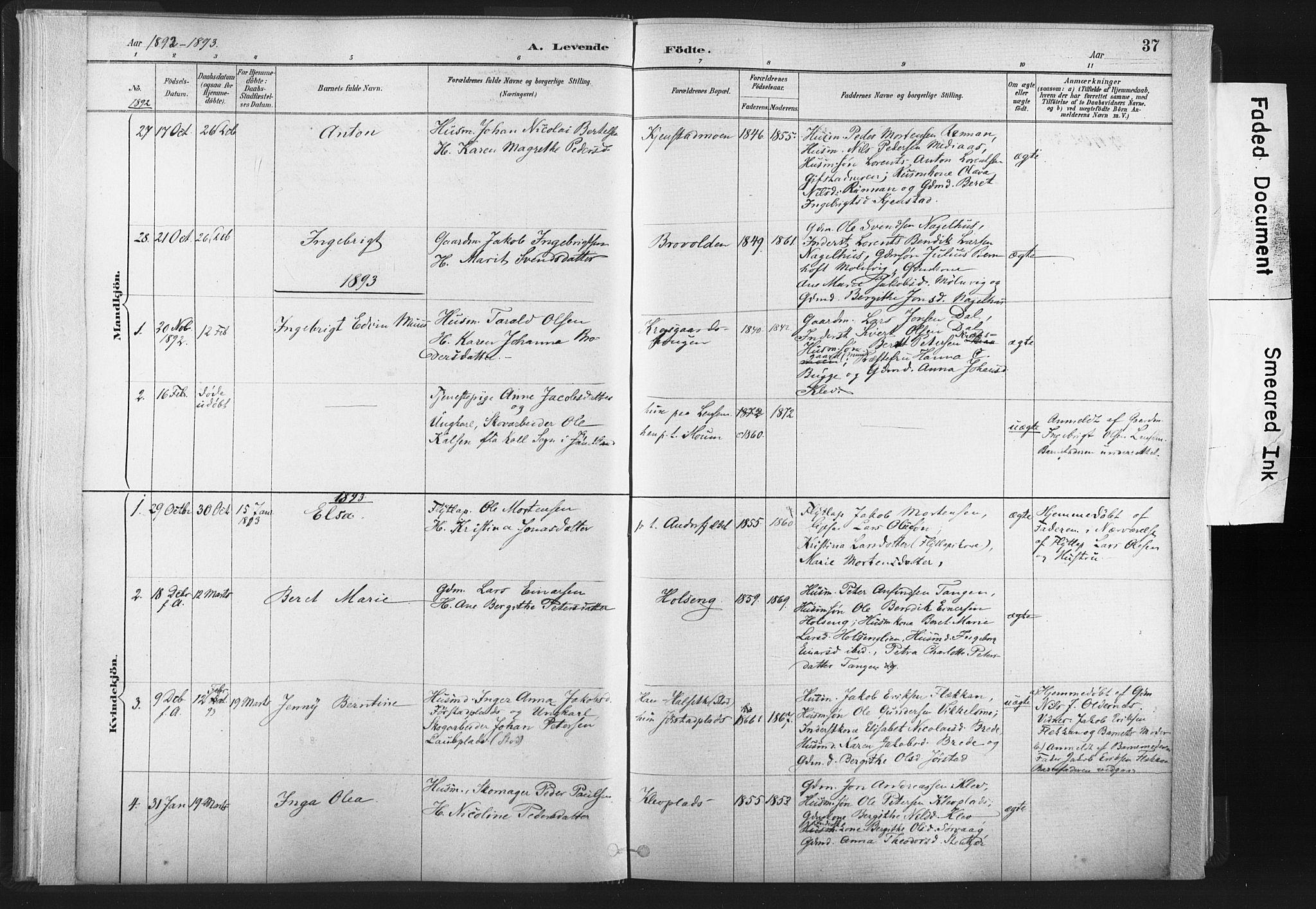 SAT, Ministerialprotokoller, klokkerbøker og fødselsregistre - Nord-Trøndelag, 749/L0474: Ministerialbok nr. 749A08, 1887-1903, s. 37