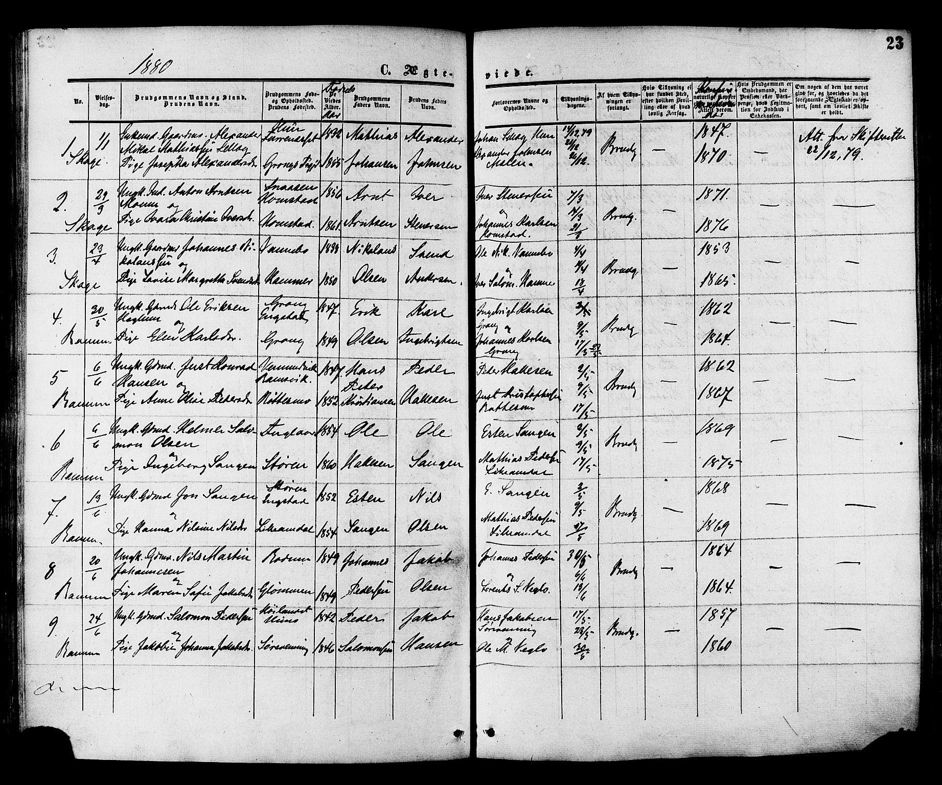 SAT, Ministerialprotokoller, klokkerbøker og fødselsregistre - Nord-Trøndelag, 764/L0553: Ministerialbok nr. 764A08, 1858-1880, s. 23