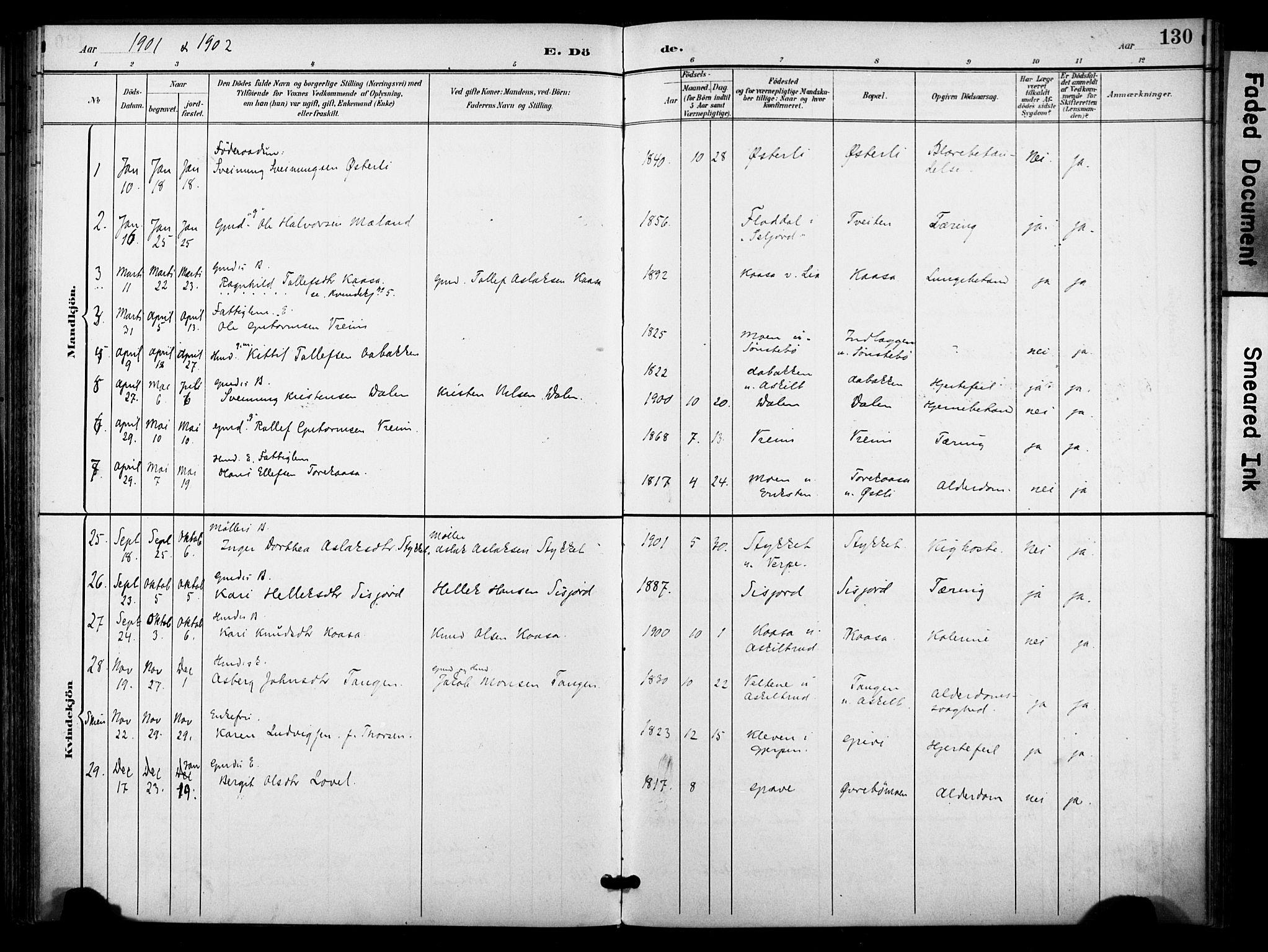 SAKO, Bø kirkebøker, F/Fa/L0012: Ministerialbok nr. 12, 1900-1908, s. 130