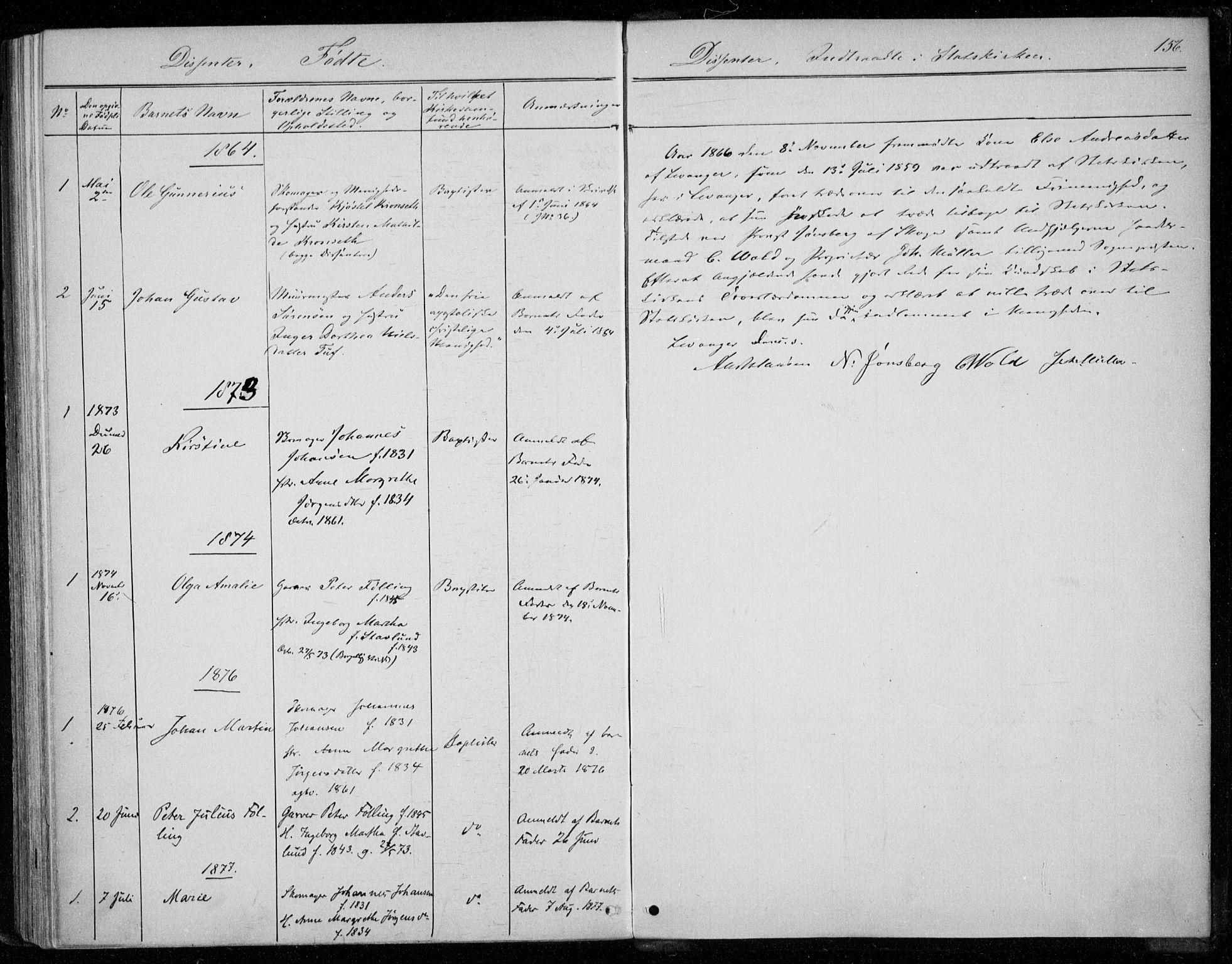 SAT, Ministerialprotokoller, klokkerbøker og fødselsregistre - Nord-Trøndelag, 720/L0186: Ministerialbok nr. 720A03, 1864-1874, s. 156