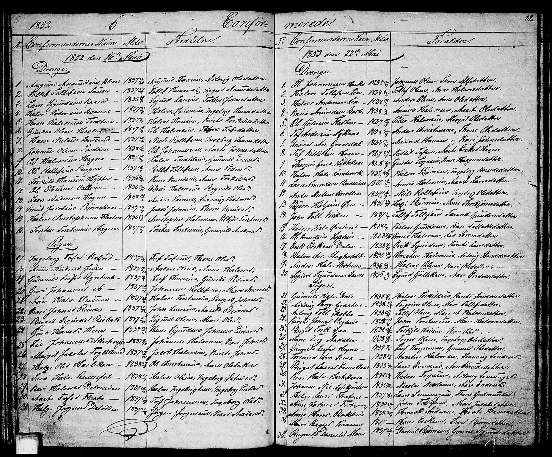 SAKO, Sauherad kirkebøker, G/Ga/L0002: Klokkerbok nr. I 2, 1842-1866, s. 82
