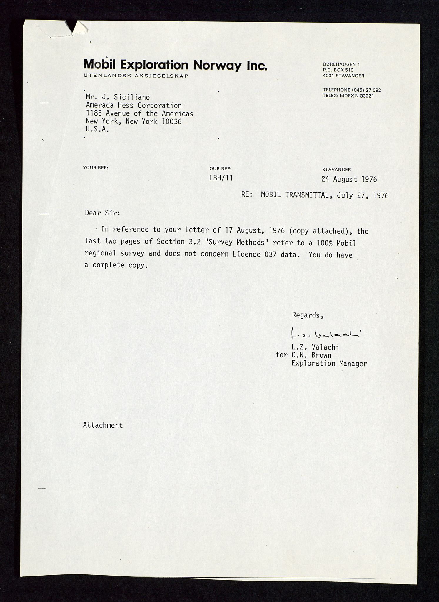 SAST, Pa 1578 - Mobil Exploration Norway Incorporated, D/Da/L0116: S.E. Smith - Sak og korrespondanse, 1973-1976, s. 255