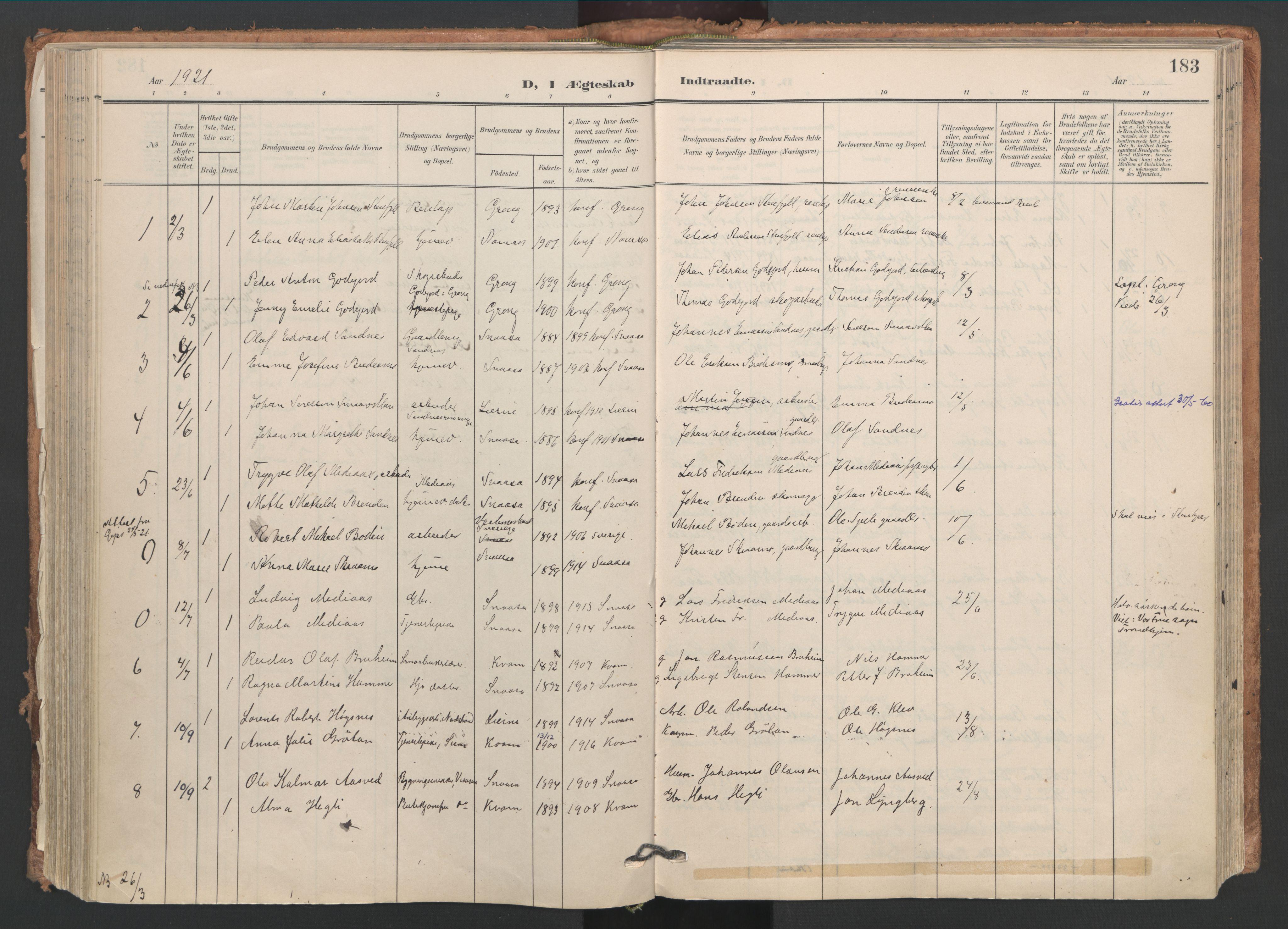 SAT, Ministerialprotokoller, klokkerbøker og fødselsregistre - Nord-Trøndelag, 749/L0477: Ministerialbok nr. 749A11, 1902-1927, s. 183