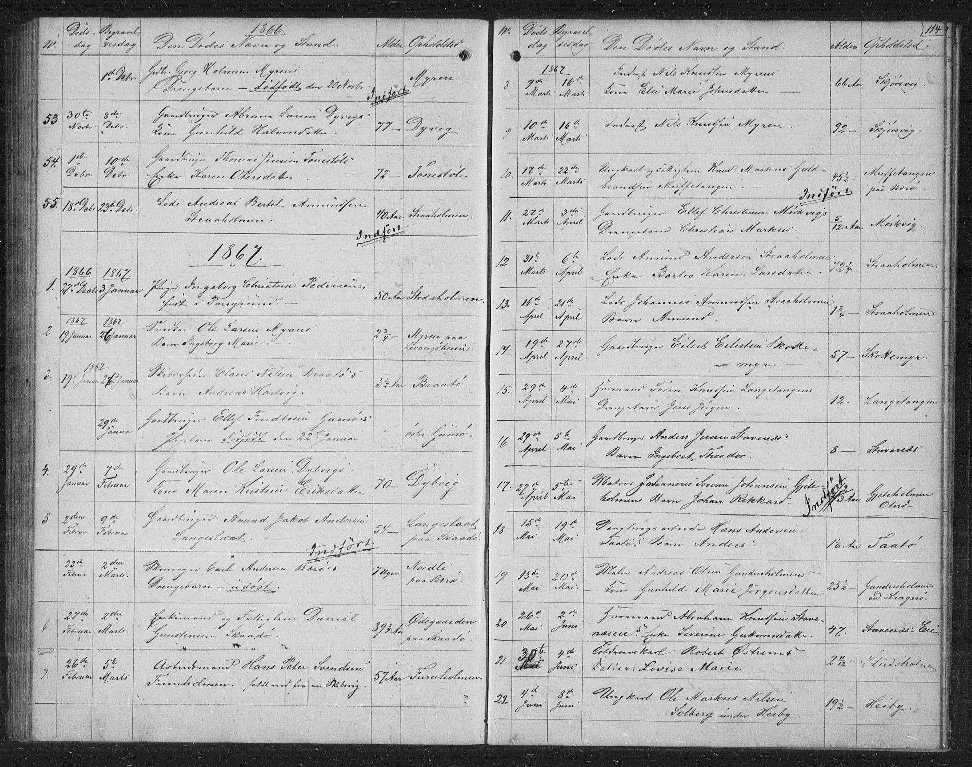 SAKO, Skåtøy kirkebøker, G/Ga/L0001: Klokkerbok nr. I 1, 1862-1872, s. 114