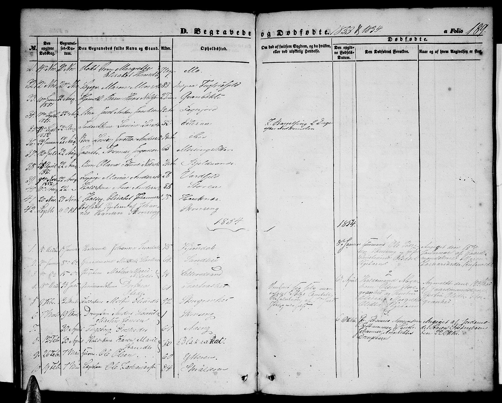 SAT, Ministerialprotokoller, klokkerbøker og fødselsregistre - Nordland, 827/L0414: Klokkerbok nr. 827C03, 1853-1865, s. 189