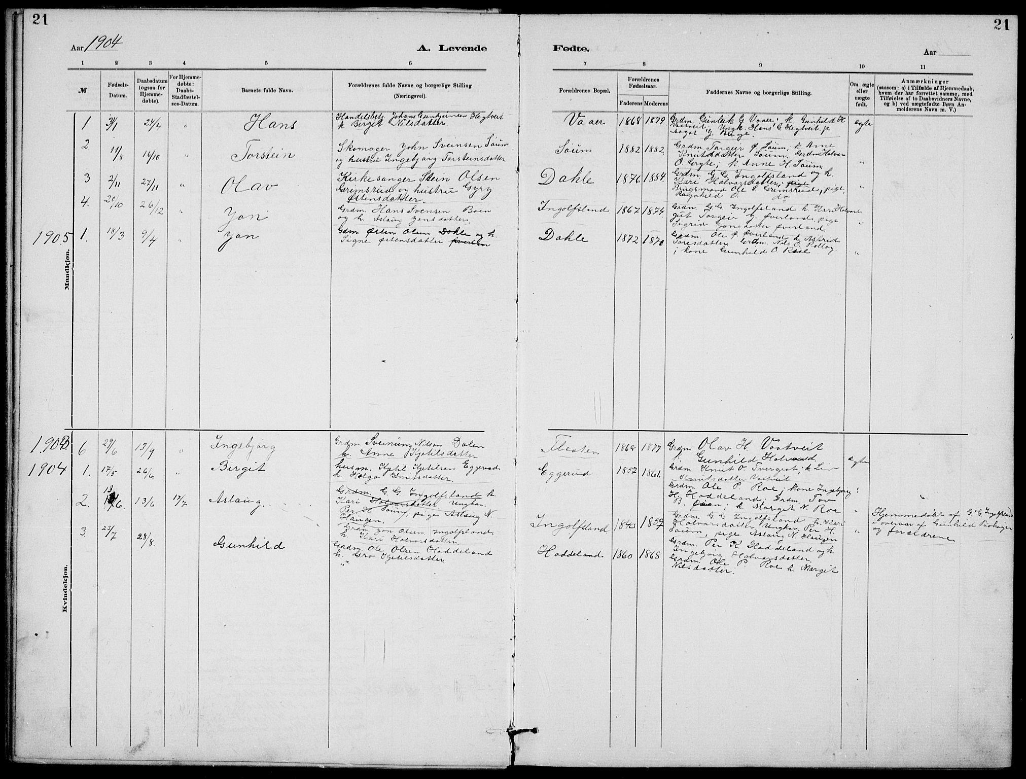 SAKO, Rjukan kirkebøker, G/Ga/L0001: Klokkerbok nr. 1, 1880-1914, s. 21