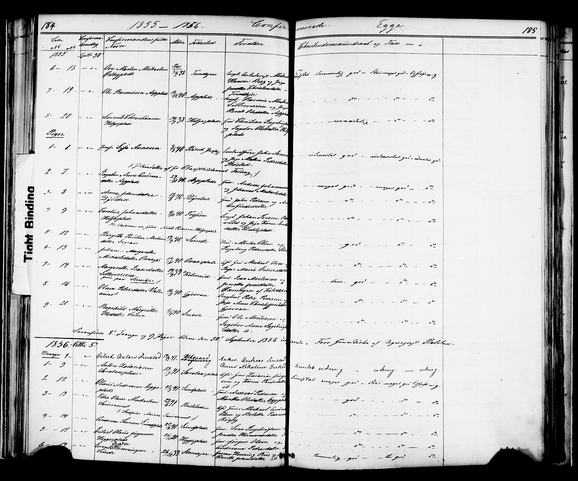 SAT, Ministerialprotokoller, klokkerbøker og fødselsregistre - Nord-Trøndelag, 739/L0367: Ministerialbok nr. 739A01 /3, 1838-1868, s. 184-185