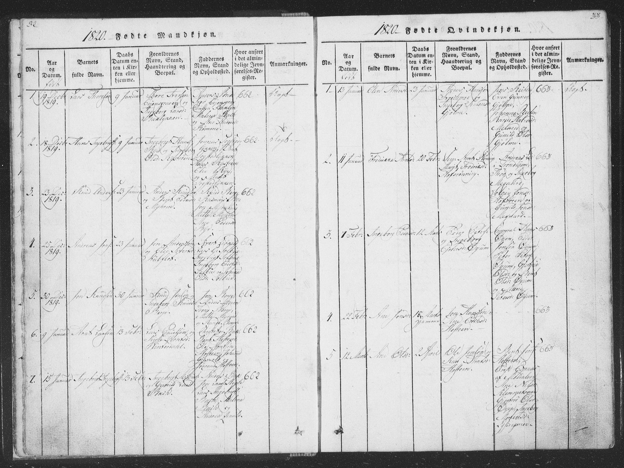 SAT, Ministerialprotokoller, klokkerbøker og fødselsregistre - Sør-Trøndelag, 668/L0816: Klokkerbok nr. 668C05, 1816-1893, s. 32-33