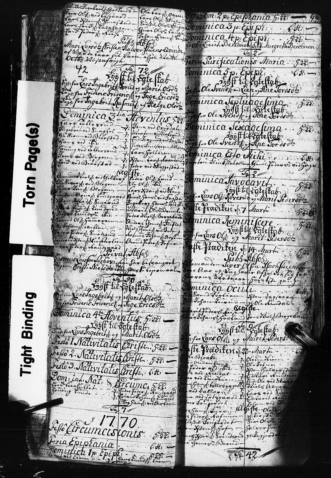 SAH, Fåberg prestekontor, Klokkerbok nr. 3, 1768-1796, s. 42-43