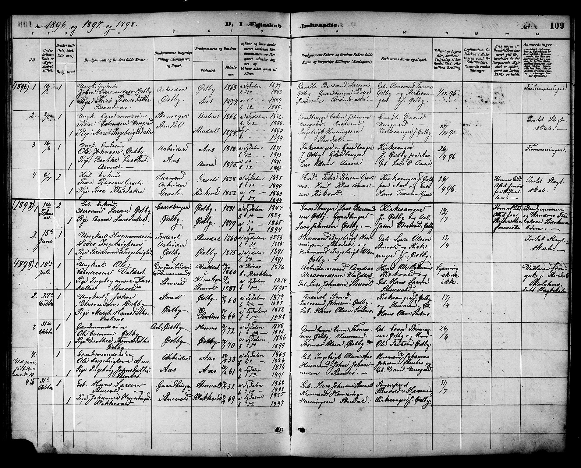 SAT, Ministerialprotokoller, klokkerbøker og fødselsregistre - Sør-Trøndelag, 698/L1167: Klokkerbok nr. 698C04, 1888-1907, s. 109