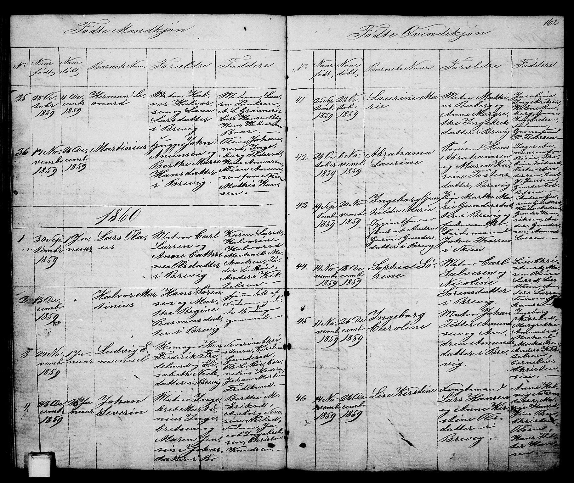 SAKO, Brevik kirkebøker, G/Ga/L0002: Klokkerbok nr. 2, 1846-1865, s. 162