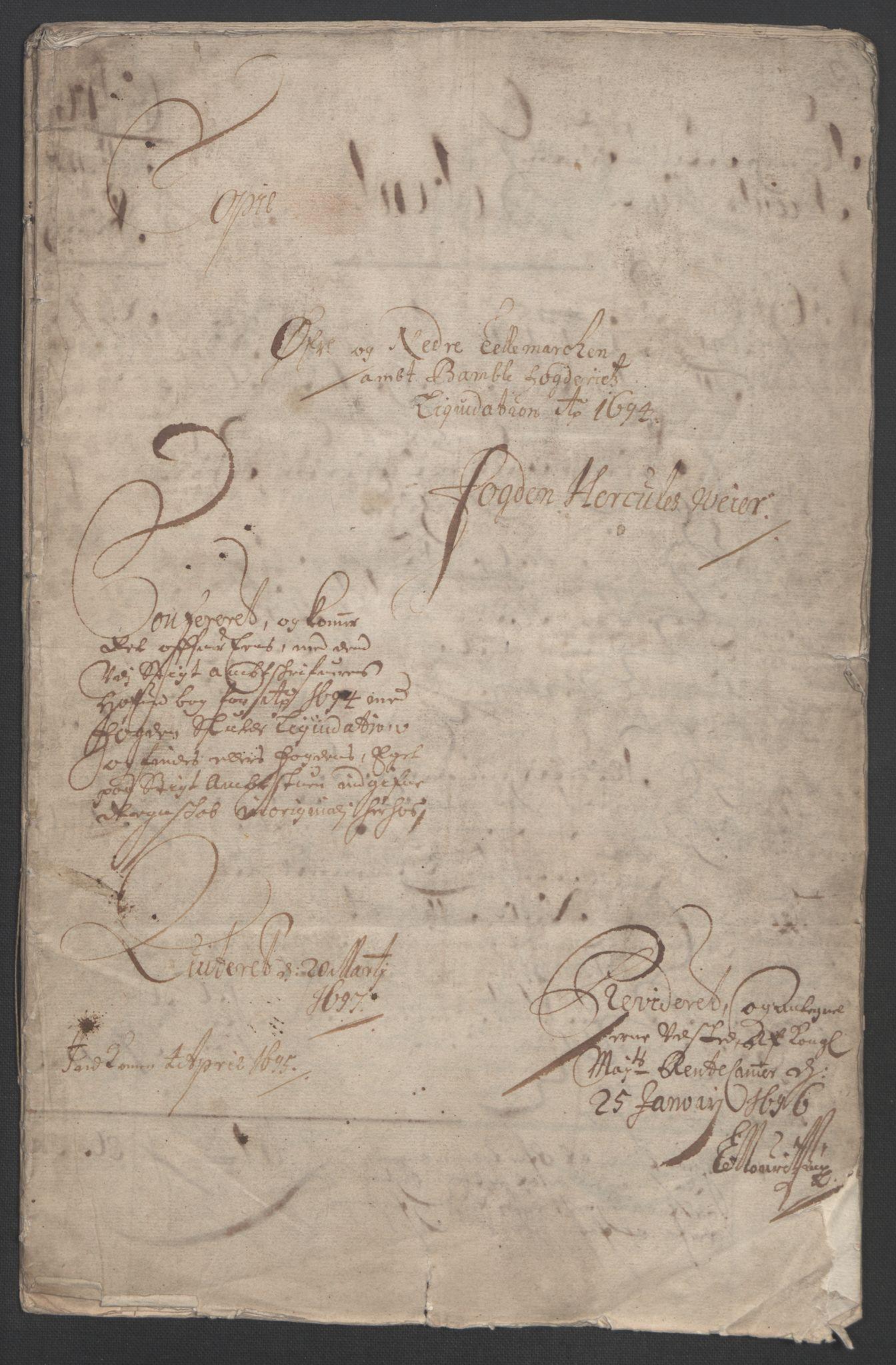 RA, Rentekammeret inntil 1814, Reviderte regnskaper, Fogderegnskap, R36/L2092: Fogderegnskap Øvre og Nedre Telemark og Bamble, 1694, s. 3