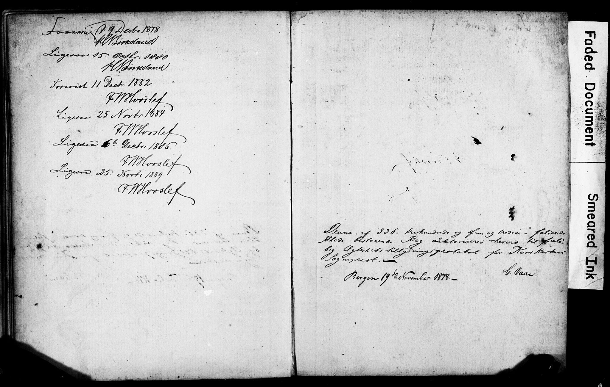 SAB, Korskirken Sokneprestembete, Forlovererklæringer nr. II.5.5, 1878-1889