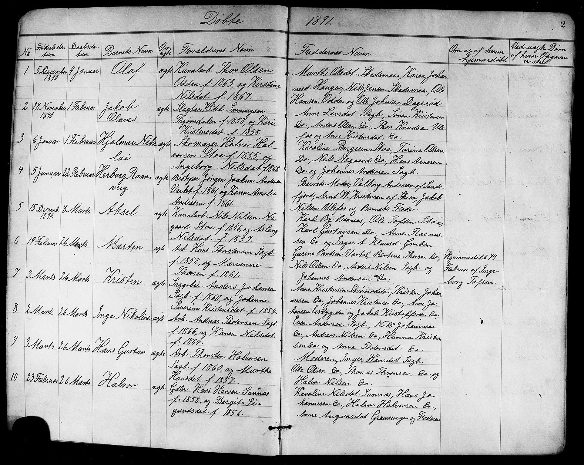SAKO, Holla kirkebøker, G/Ga/L0005: Klokkerbok nr. I 5, 1891-1917, s. 2