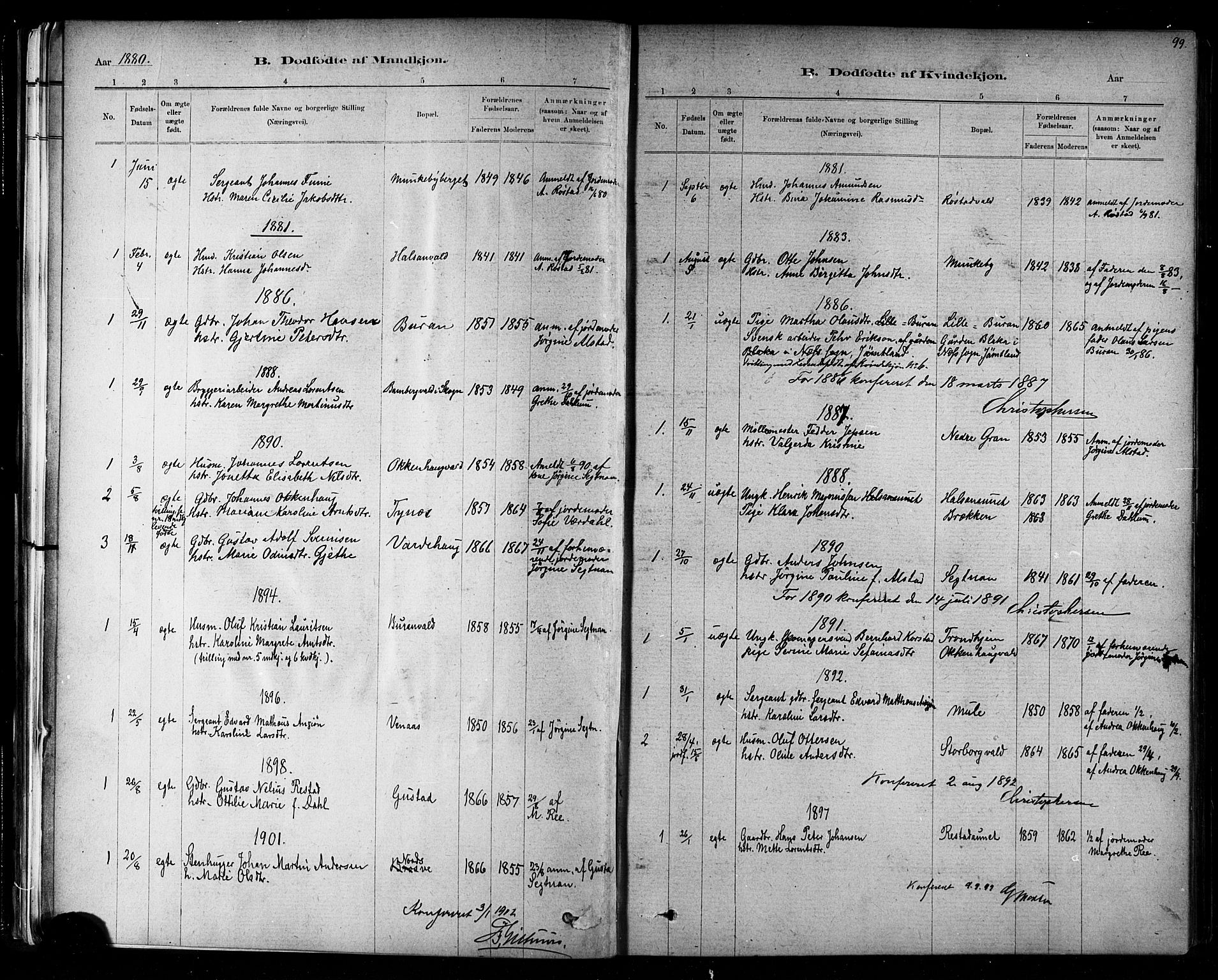 SAT, Ministerialprotokoller, klokkerbøker og fødselsregistre - Nord-Trøndelag, 721/L0208: Klokkerbok nr. 721C01, 1880-1917, s. 99