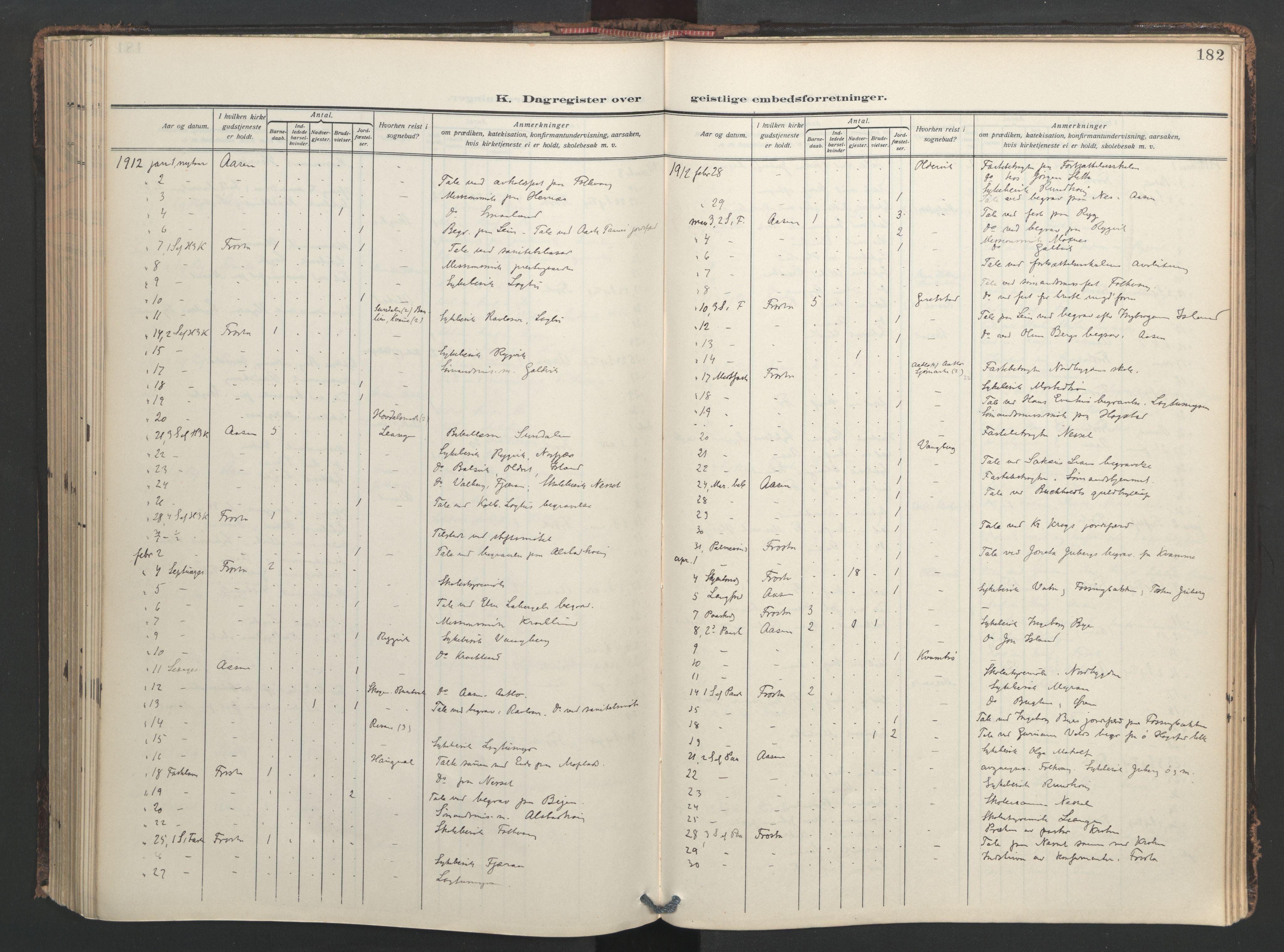 SAT, Ministerialprotokoller, klokkerbøker og fødselsregistre - Nord-Trøndelag, 713/L0123: Ministerialbok nr. 713A12, 1911-1925, s. 182