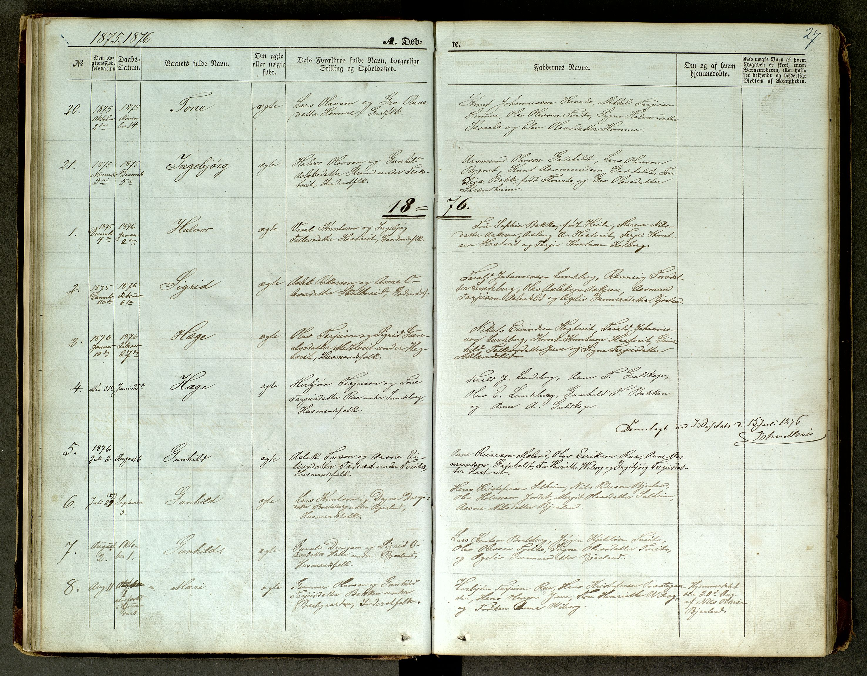 SAKO, Lårdal kirkebøker, G/Ga/L0002: Klokkerbok nr. I 2, 1861-1890, s. 27