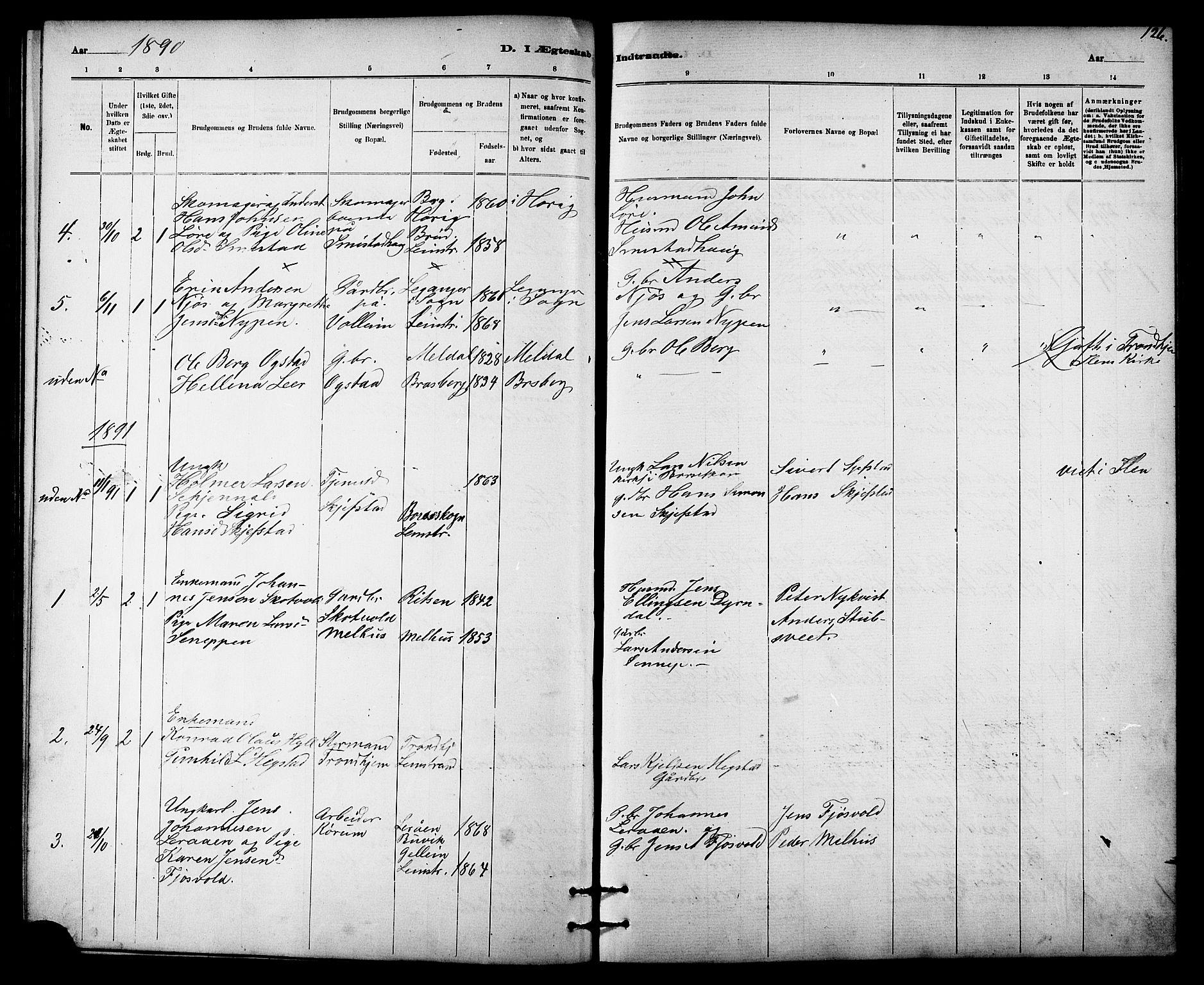 SAT, Ministerialprotokoller, klokkerbøker og fødselsregistre - Sør-Trøndelag, 613/L0395: Klokkerbok nr. 613C03, 1887-1909, s. 126