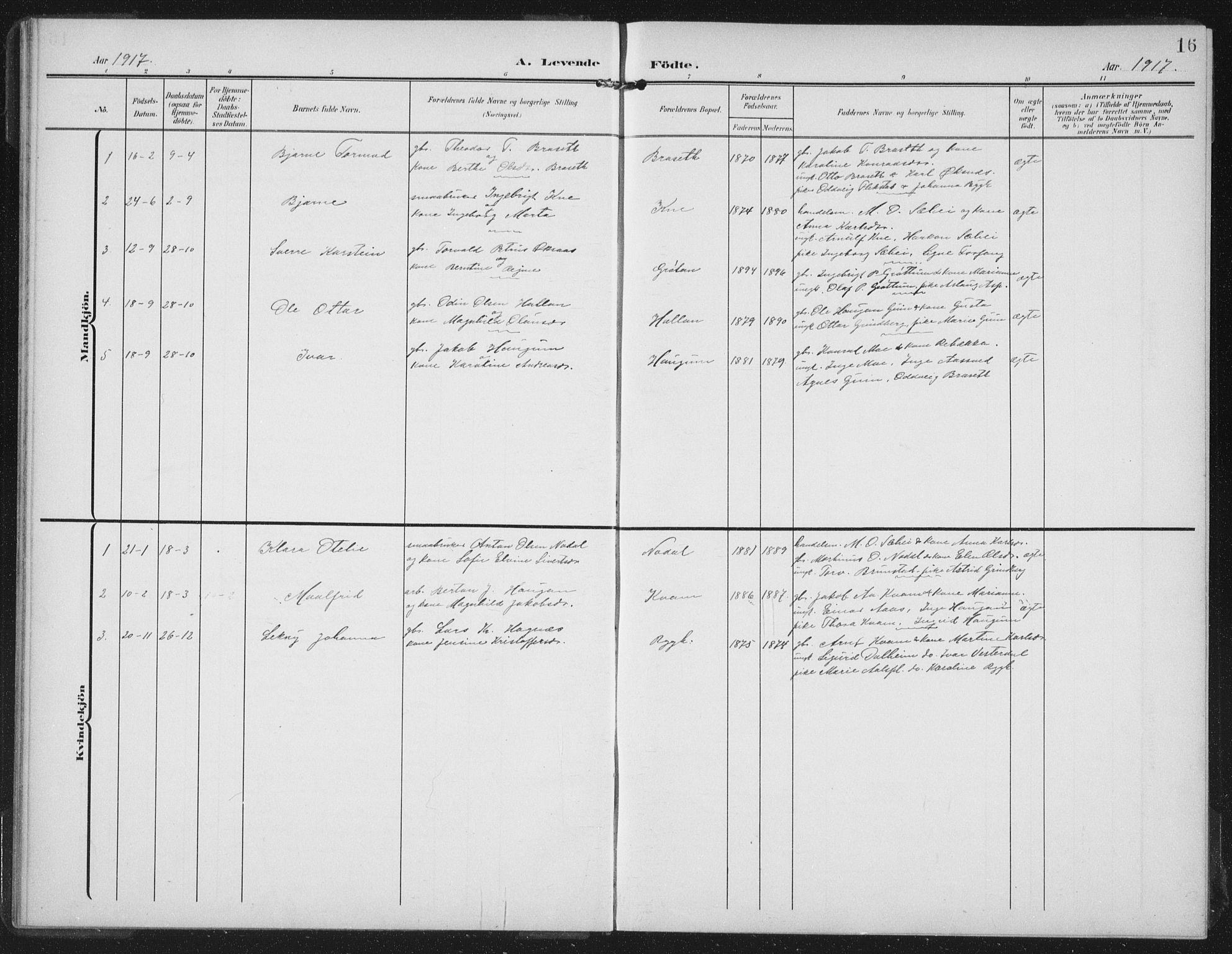SAT, Ministerialprotokoller, klokkerbøker og fødselsregistre - Nord-Trøndelag, 747/L0460: Klokkerbok nr. 747C02, 1908-1939, s. 16