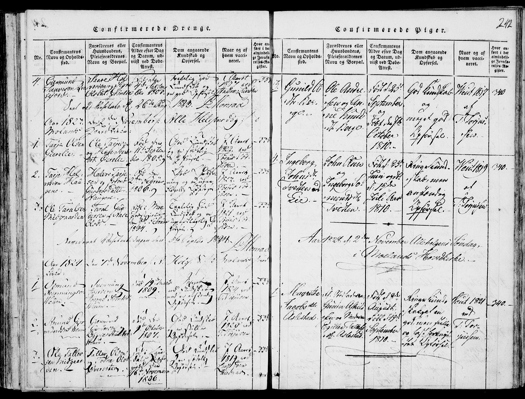 SAKO, Fyresdal kirkebøker, F/Fb/L0001: Ministerialbok nr. II 1, 1815-1854, s. 242