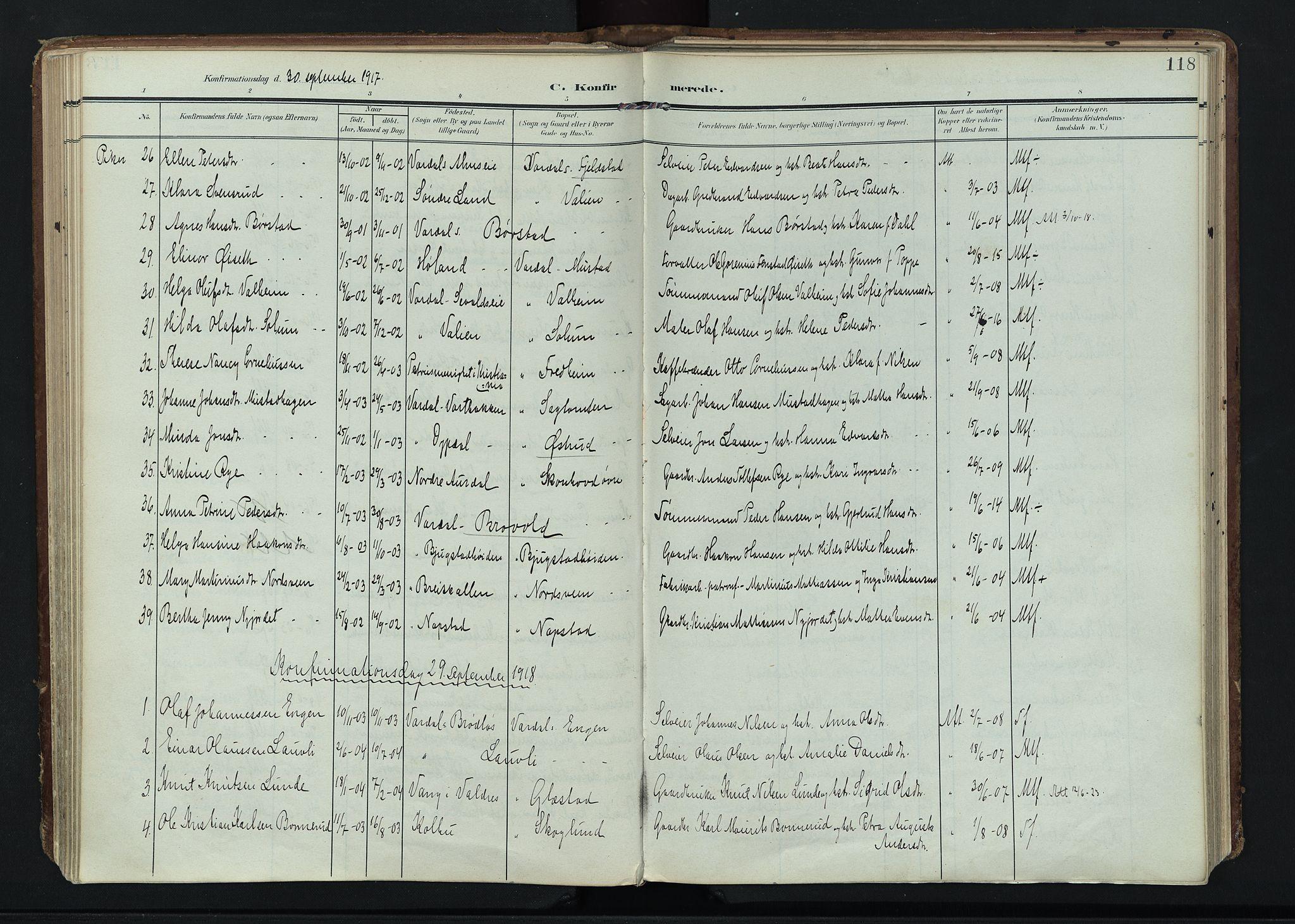 SAH, Vardal prestekontor, H/Ha/Haa/L0020: Ministerialbok nr. 20, 1907-1921, s. 118