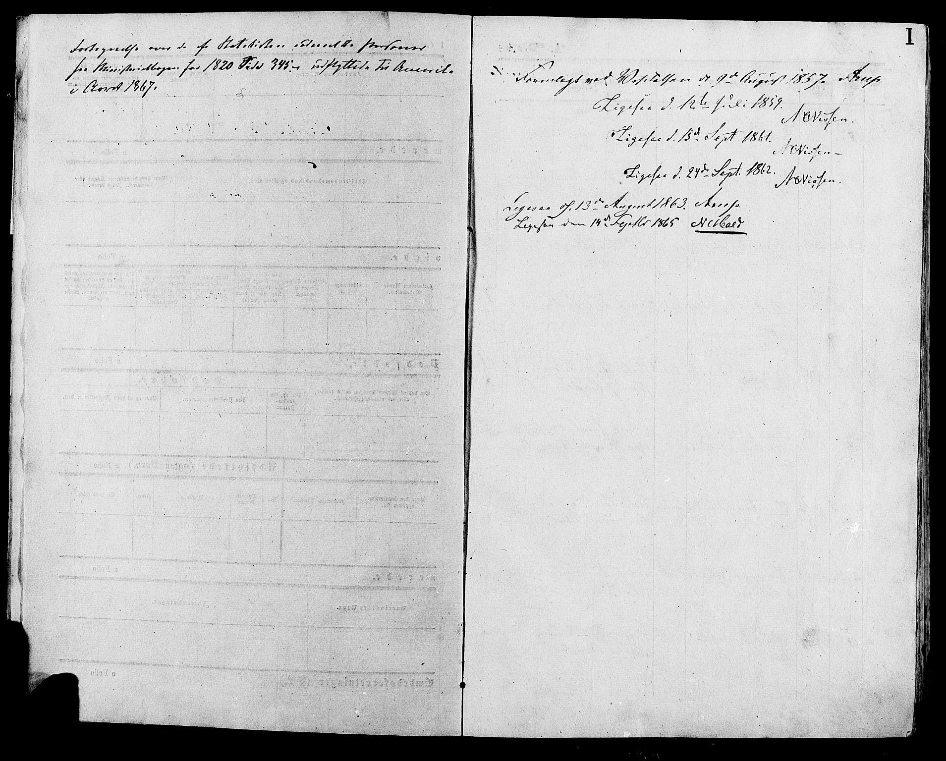 SAH, Lesja prestekontor, Ministerialbok nr. 8, 1854-1880, s. 1