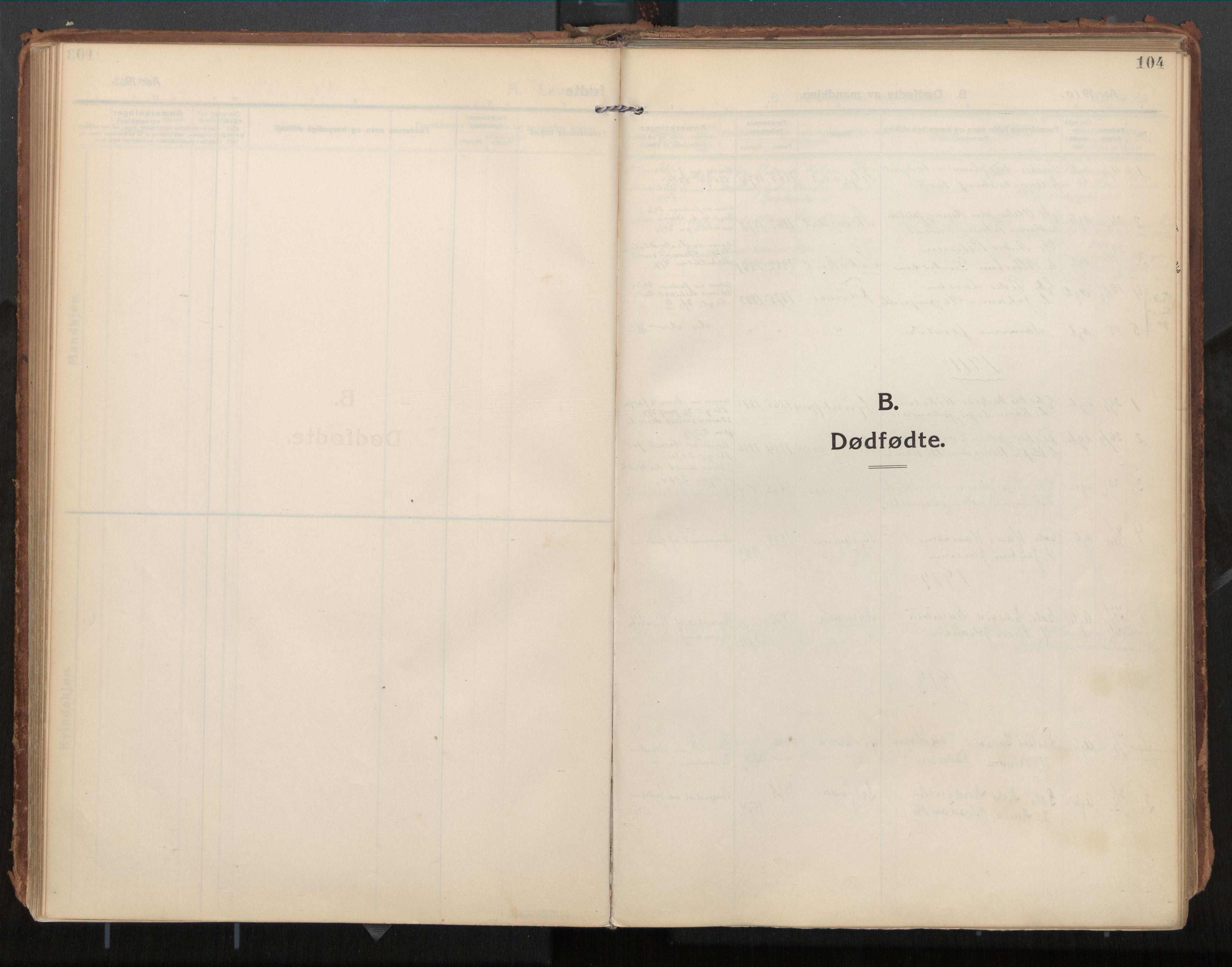 SAT, Ministerialprotokoller, klokkerbøker og fødselsregistre - Nordland, 854/L0784: Ministerialbok nr. 854A07, 1910-1922, s. 104