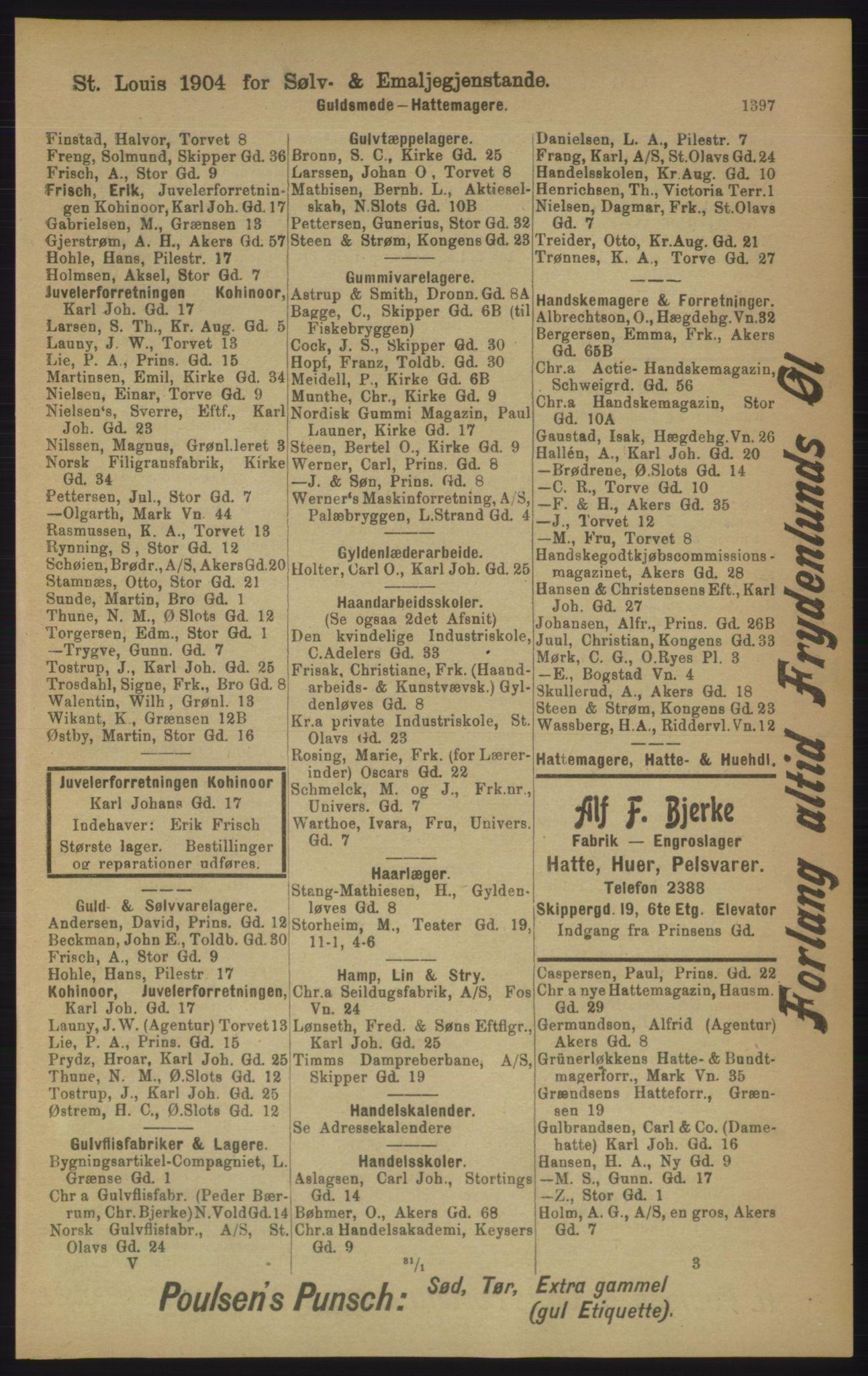 RA, Kristiania adressebok (publikasjon)*, 1906, s. 1397