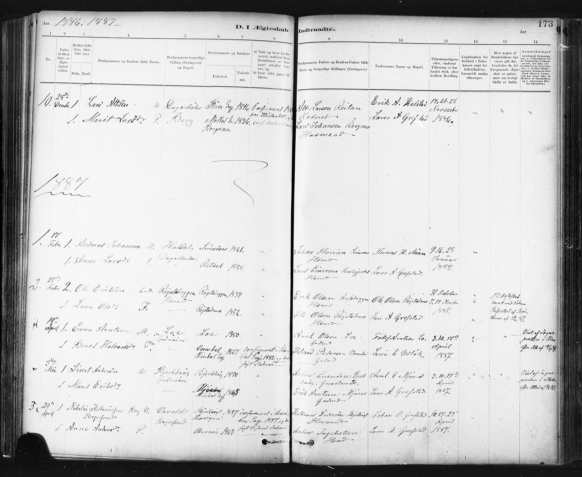 SAT, Ministerialprotokoller, klokkerbøker og fødselsregistre - Sør-Trøndelag, 672/L0857: Ministerialbok nr. 672A09, 1882-1893, s. 173