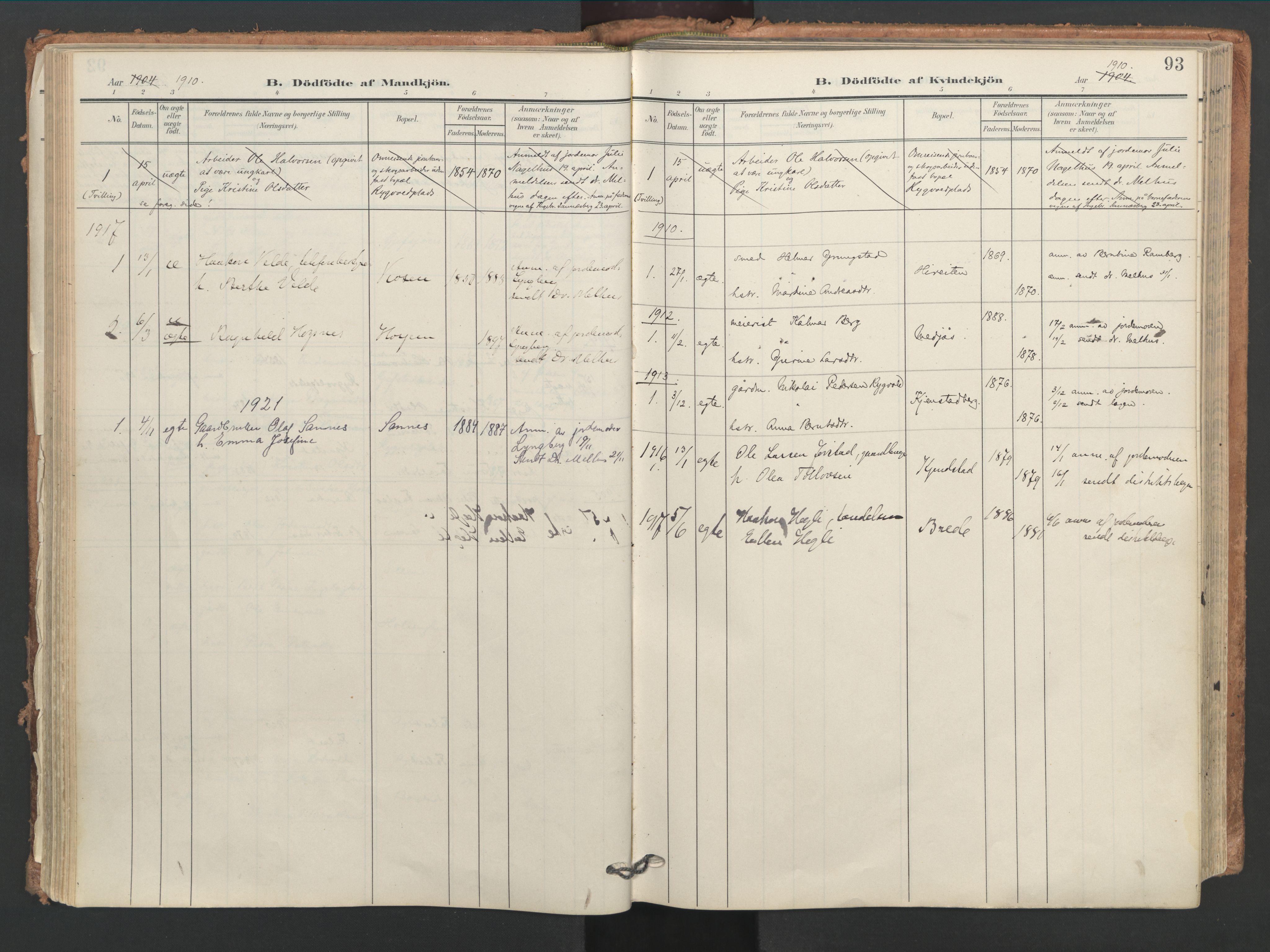 SAT, Ministerialprotokoller, klokkerbøker og fødselsregistre - Nord-Trøndelag, 749/L0477: Ministerialbok nr. 749A11, 1902-1927, s. 93