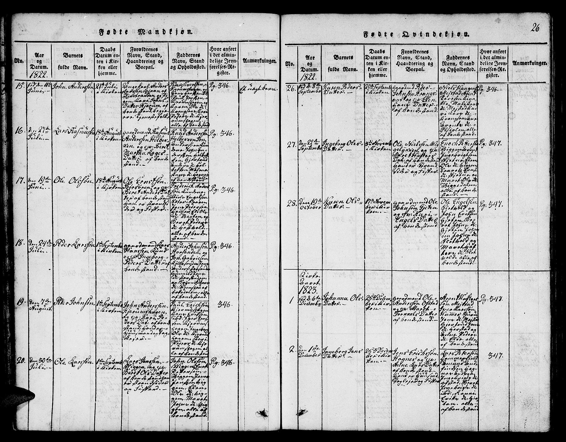 SAT, Ministerialprotokoller, klokkerbøker og fødselsregistre - Sør-Trøndelag, 665/L0776: Klokkerbok nr. 665C01, 1817-1837, s. 26