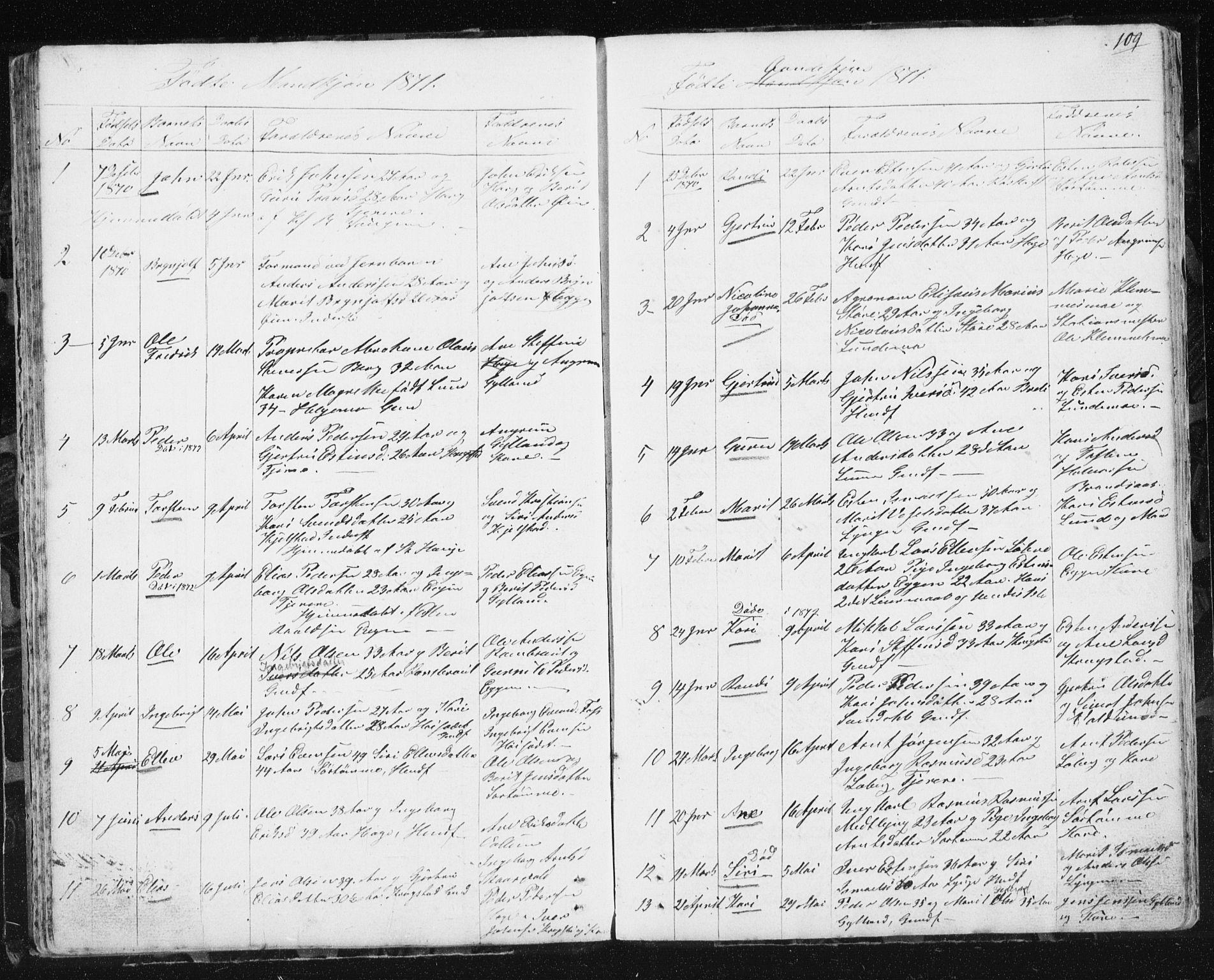 SAT, Ministerialprotokoller, klokkerbøker og fødselsregistre - Sør-Trøndelag, 692/L1110: Klokkerbok nr. 692C05, 1849-1889, s. 109