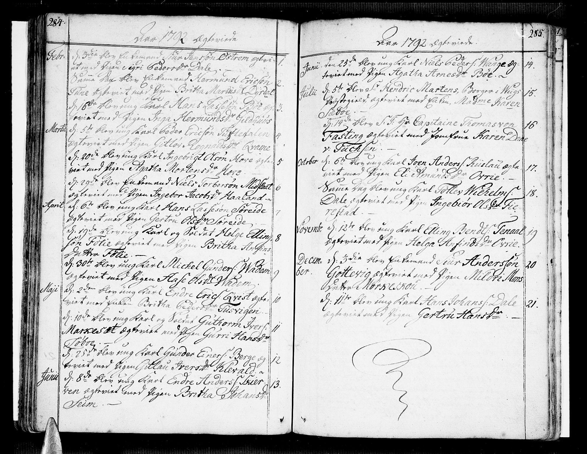 SAB, Vik Sokneprestembete, Ministerialbok nr. A 5, 1787-1820, s. 284-285