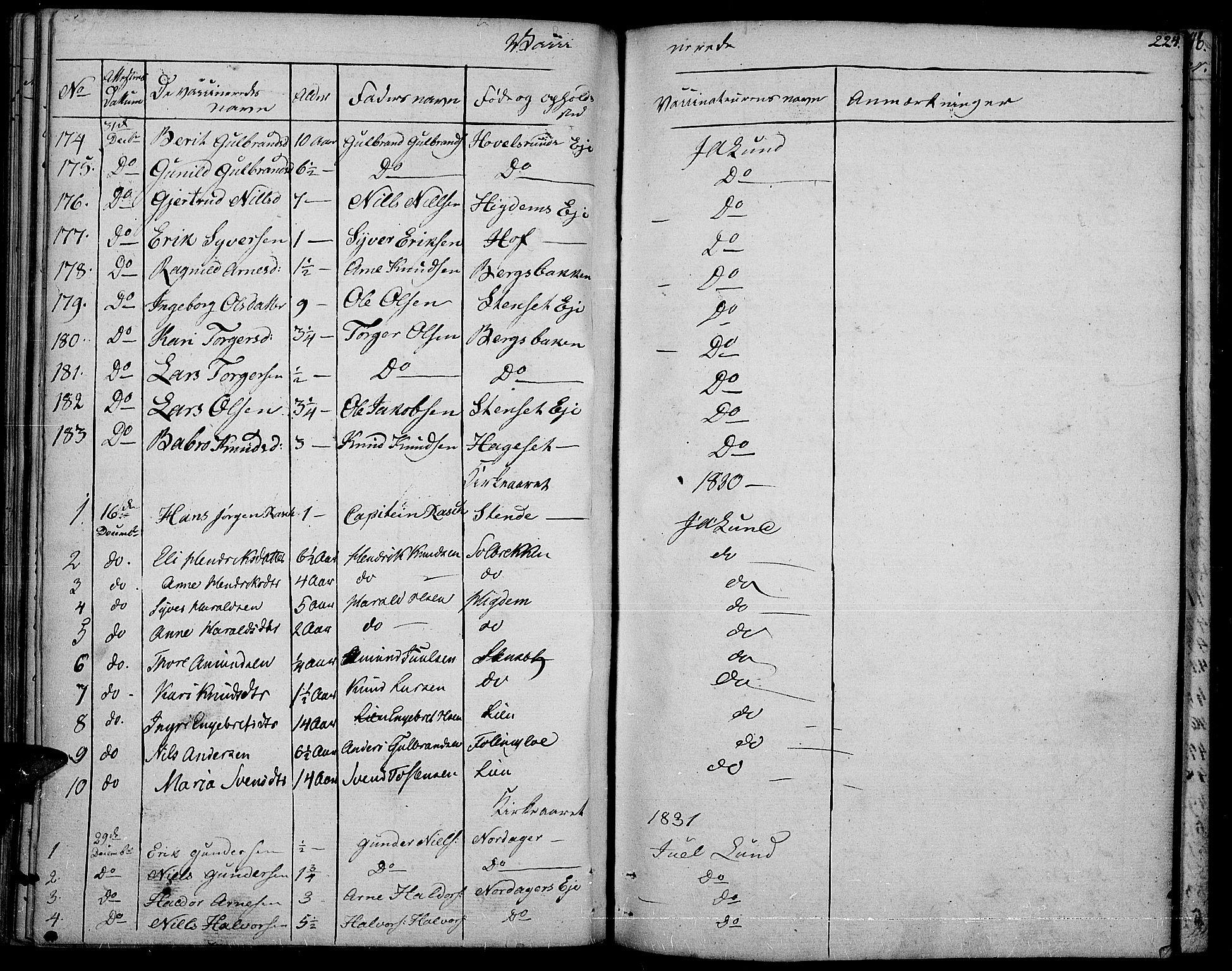 SAH, Nord-Aurdal prestekontor, Ministerialbok nr. 3, 1828-1841, s. 224