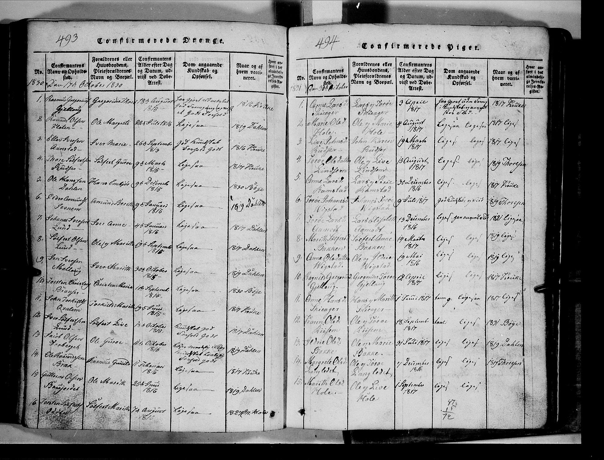 SAH, Lom prestekontor, L/L0003: Klokkerbok nr. 3, 1815-1844, s. 493-494