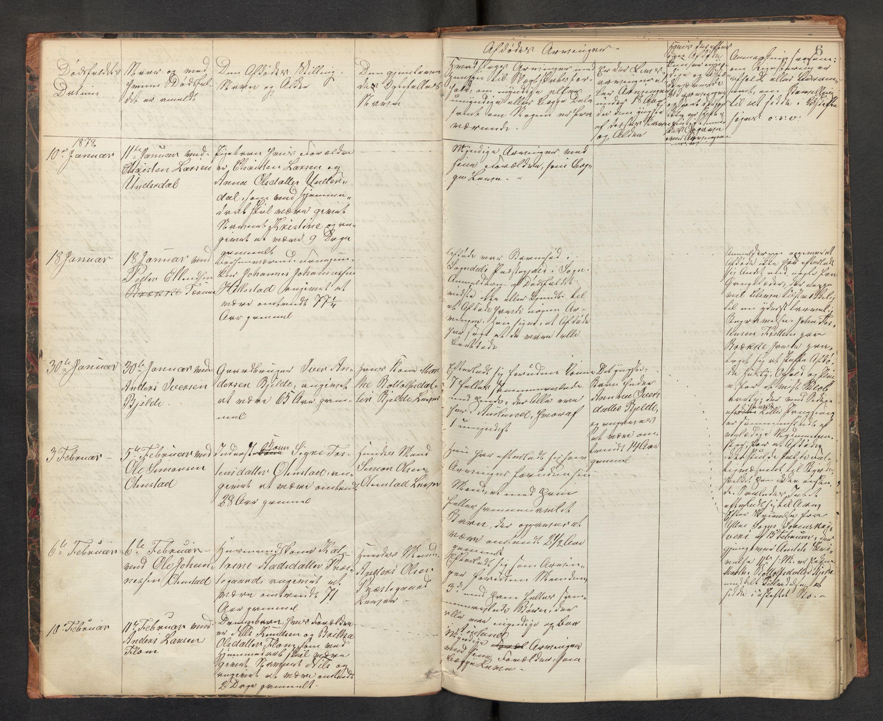 SAB, Lensmannen i Aurland, 0006/L0002: Dødsfallprotokoll, 1877-1892, s. 5b-6a