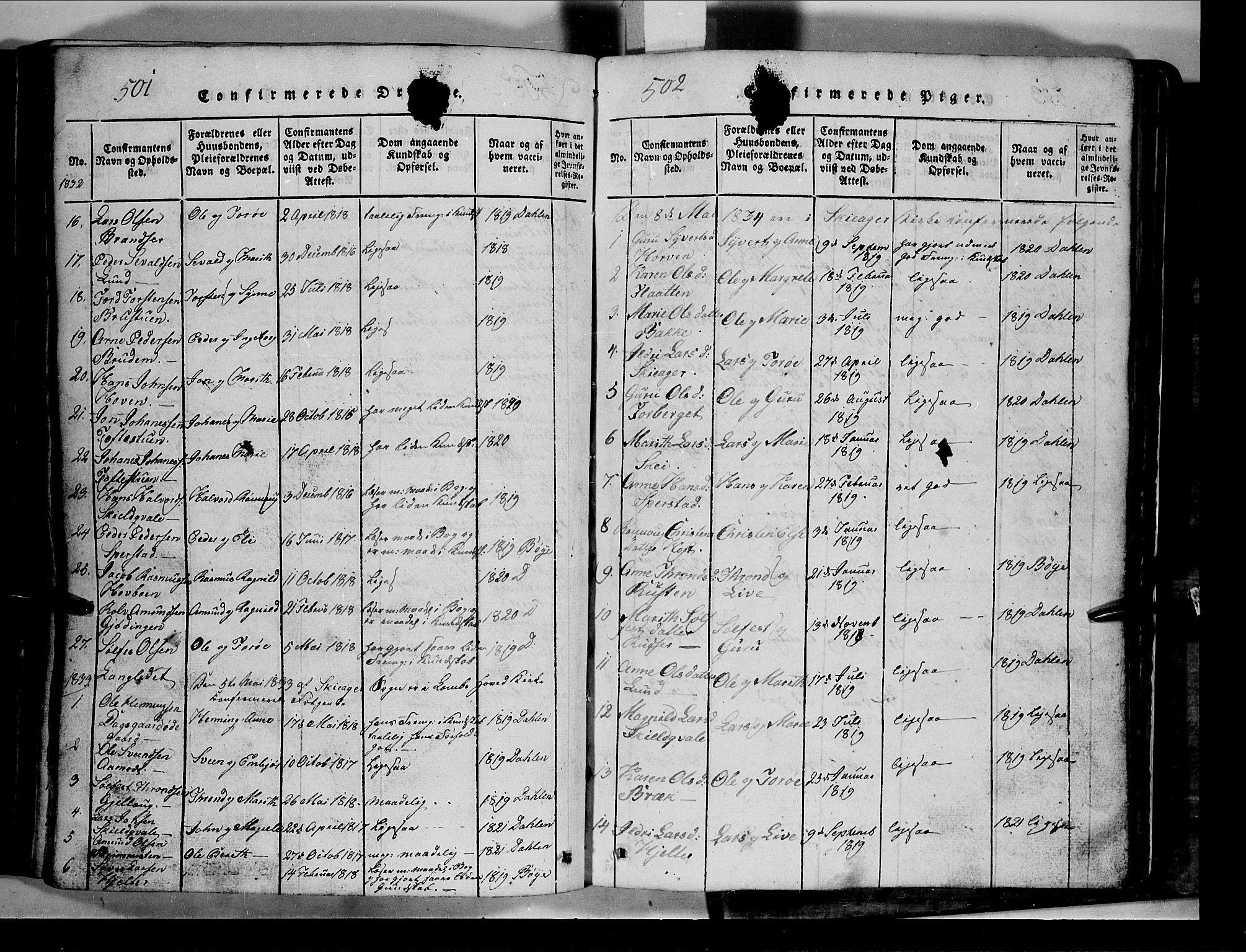 SAH, Lom prestekontor, L/L0003: Klokkerbok nr. 3, 1815-1844, s. 501-502
